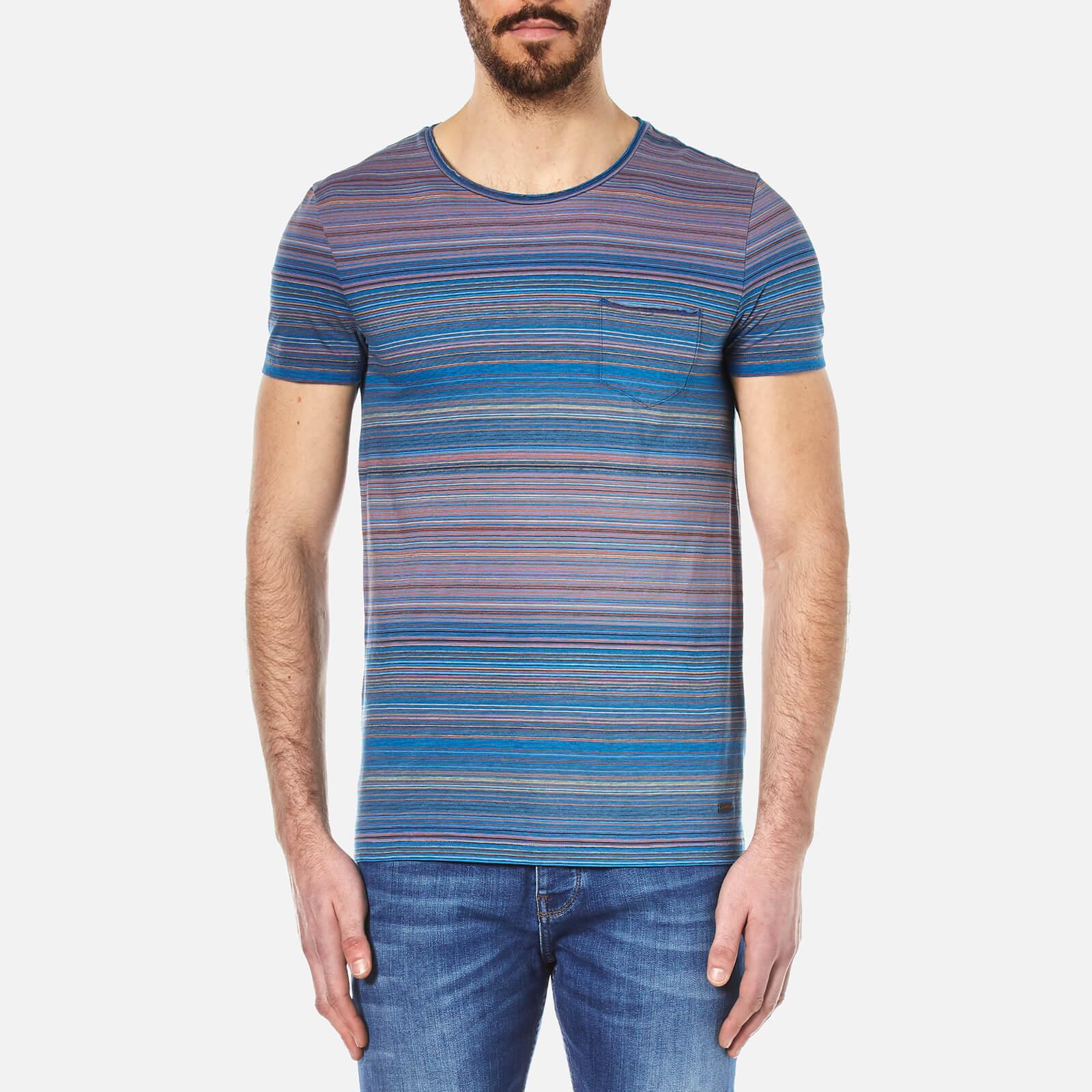 3e267d214 BOSS Orange Men's Tedryk Striped T-Shirt - Open Blue - Free UK Delivery  over £50