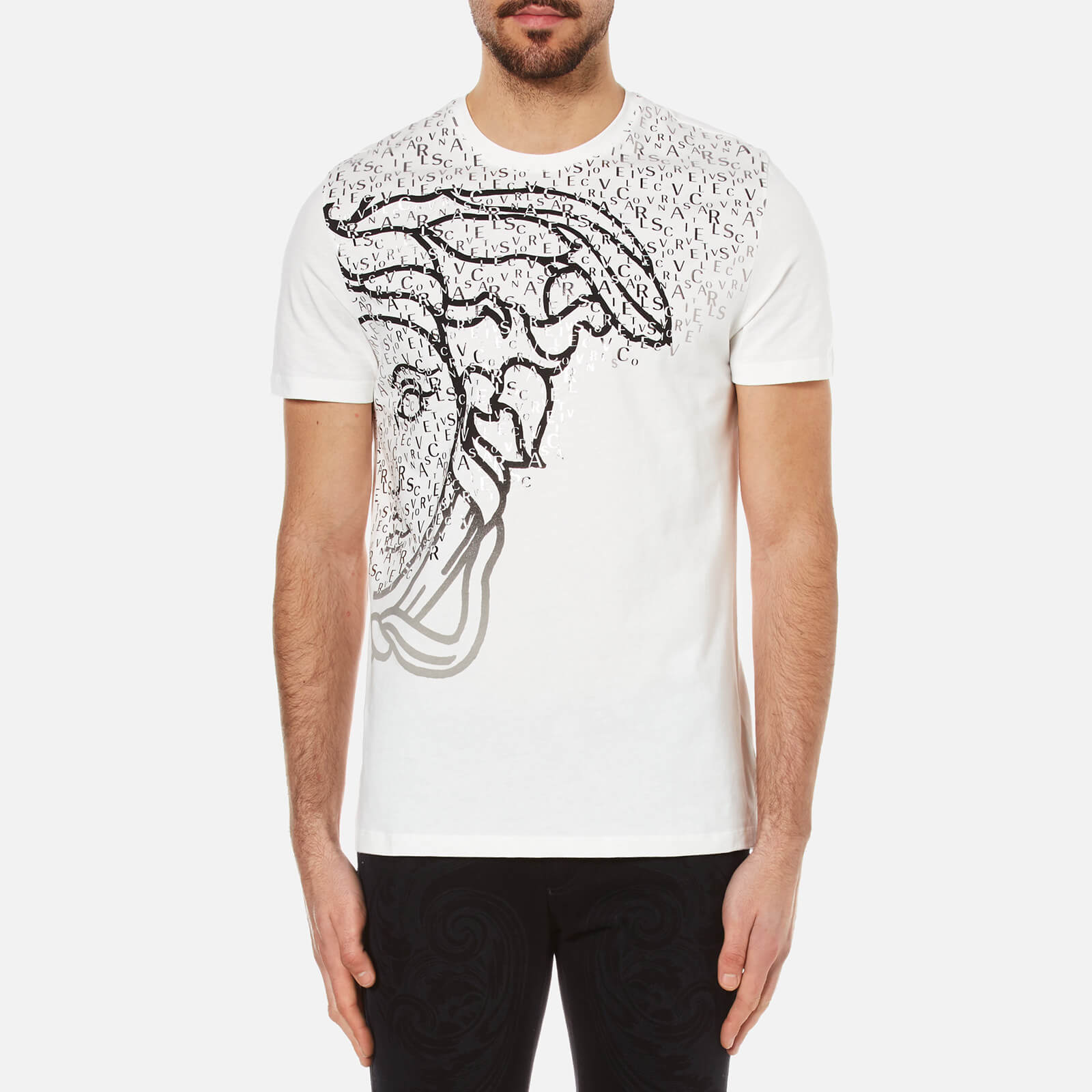 6fc039fd Versace Collection Men's Half Medusa Head and Branded Printed T-Shirt -  White - Free UK Delivery over £50