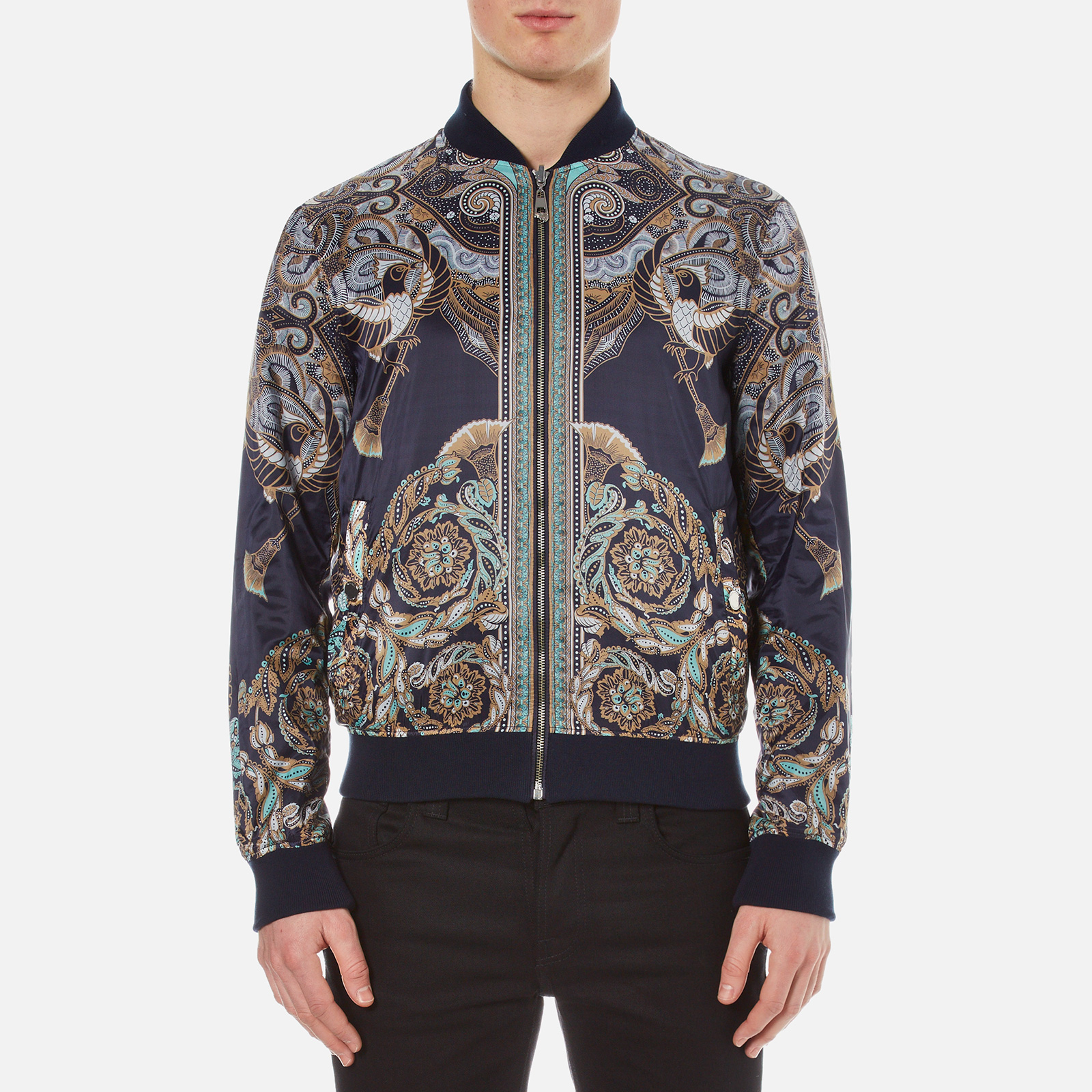 b479ea943c Versace Collection Men's Printed Reversible Bomber Jacket - Navy