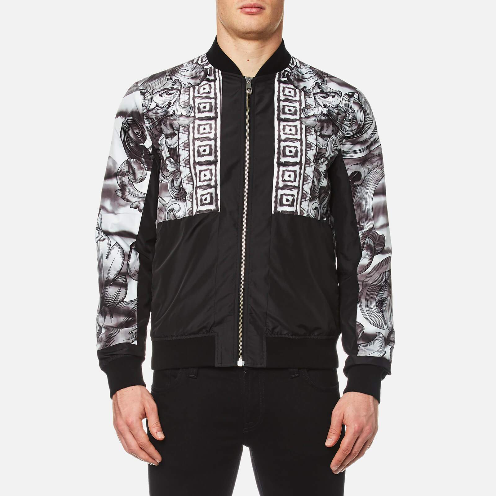 8c798e3f7a Versace Collection Men's Shoulder Print Bomber Jacket - Black