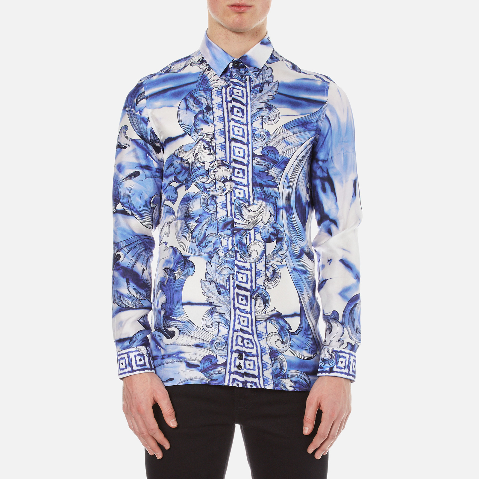 78ac0dc12b063 Versace Collection Men s Printed Silk Shirt - Blue - Free UK ...