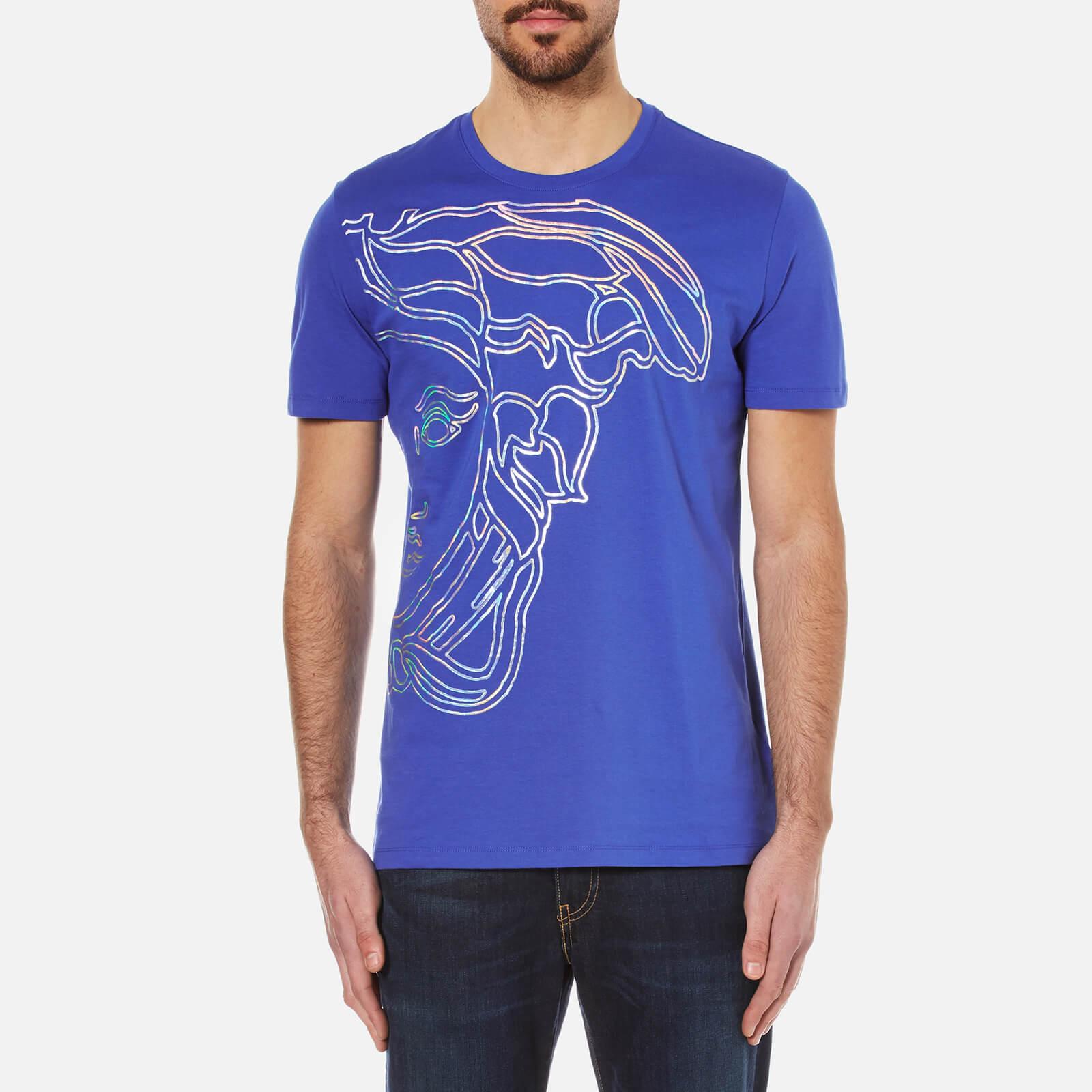 6bf3b9c1 Versace Collection Men's Half Medusa Head Metalic Embossed T-Shirt - Blue