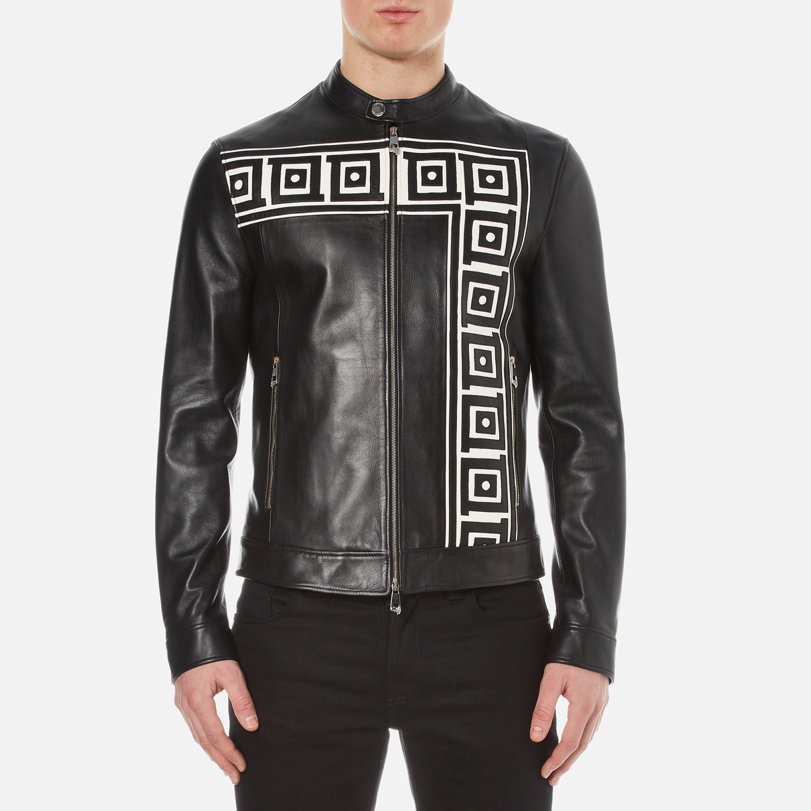 532eab8d Versace Collection Men's Printed Leather Jacket - Black