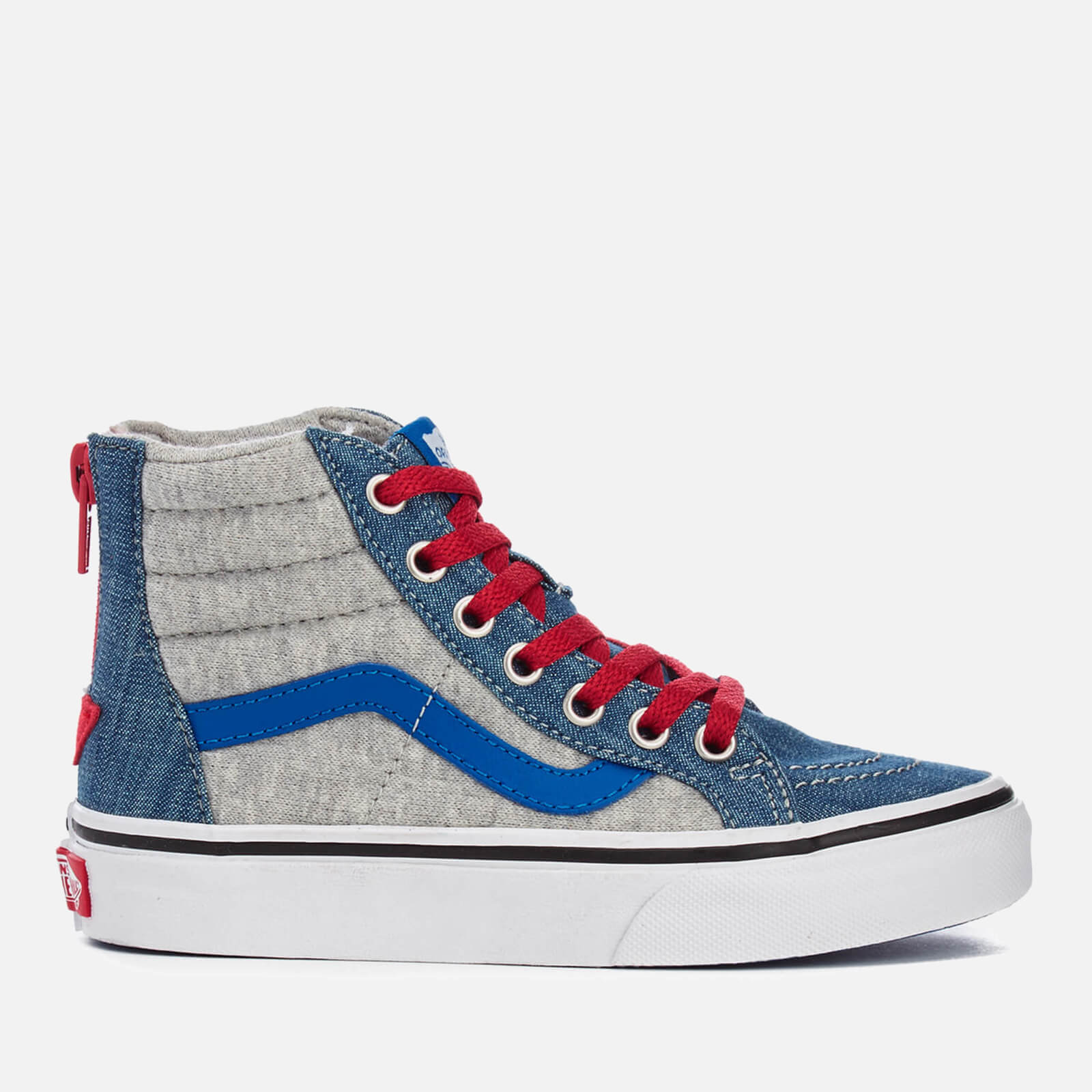 2f1446b2e685d0 Vans Kids  Sk8-Hi Zip Jersey Denim Hi-Top Trainers - Imperial Blue True  White Junior Clothing