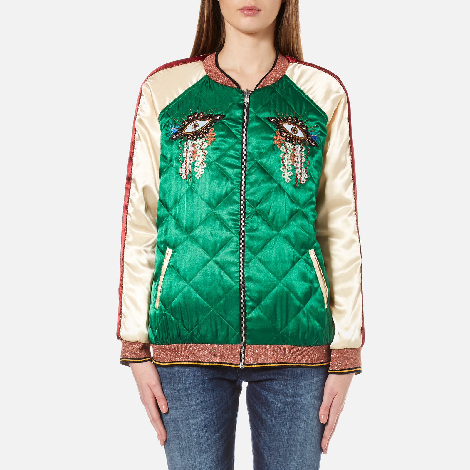 fd85f2d5b Maison Scotch Women's Reversible Relaxed Fit Bomber Jacket with  Embroideries - Multi