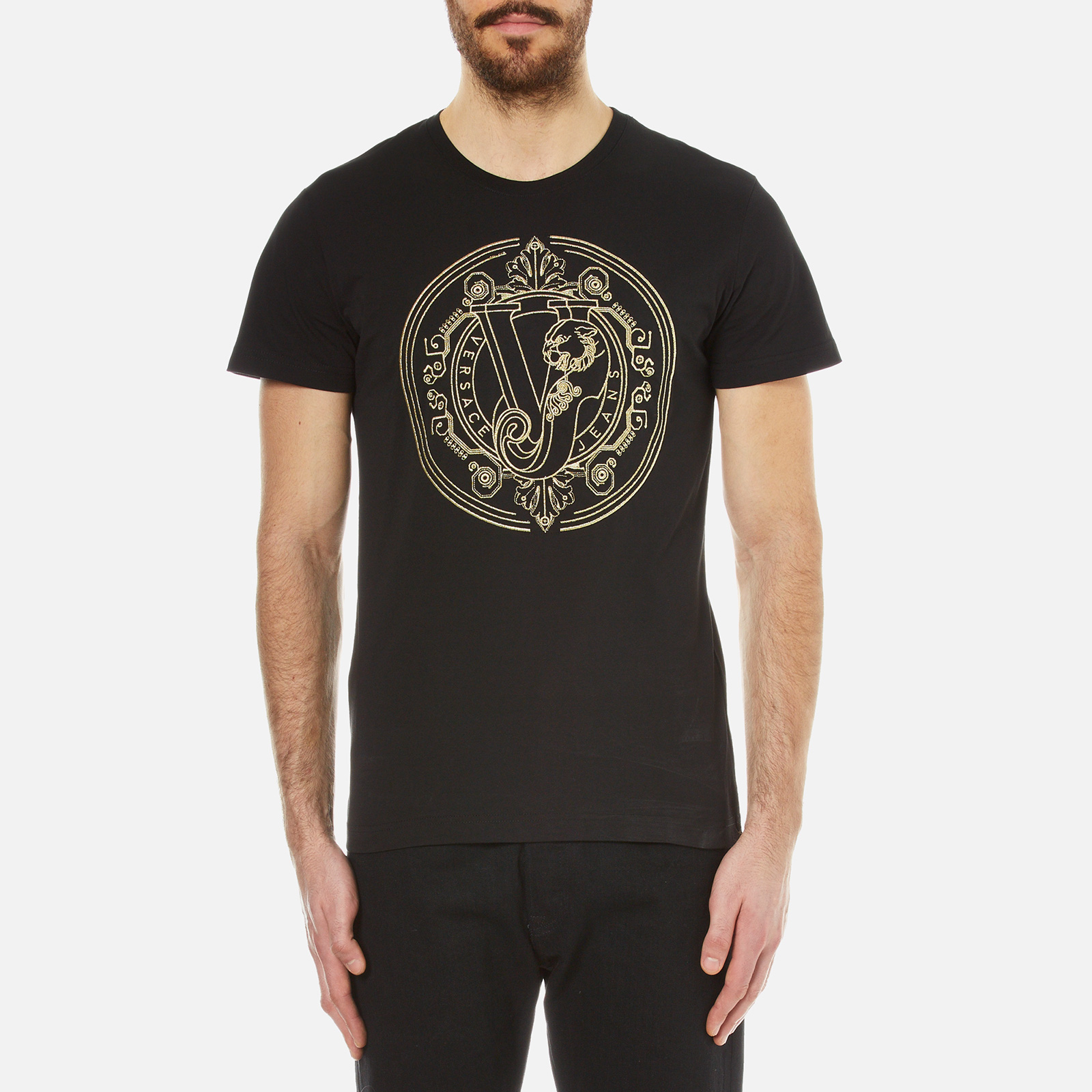 e2cdf657 Versace Jeans Men's Large Logo Printed T-Shirt - Black Clothing ...