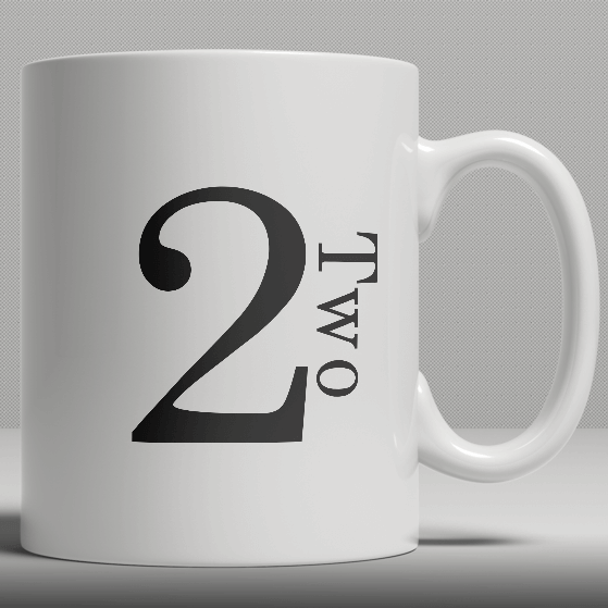Alphabet Ceramic Mug - Number 2