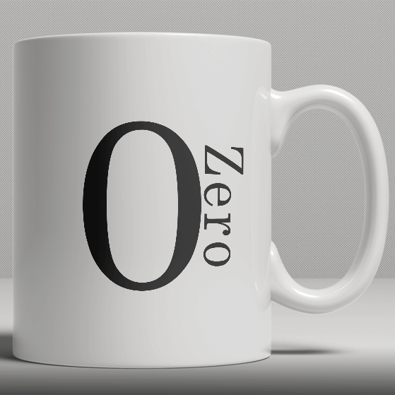 Alphabet Ceramic Mug - Number 0