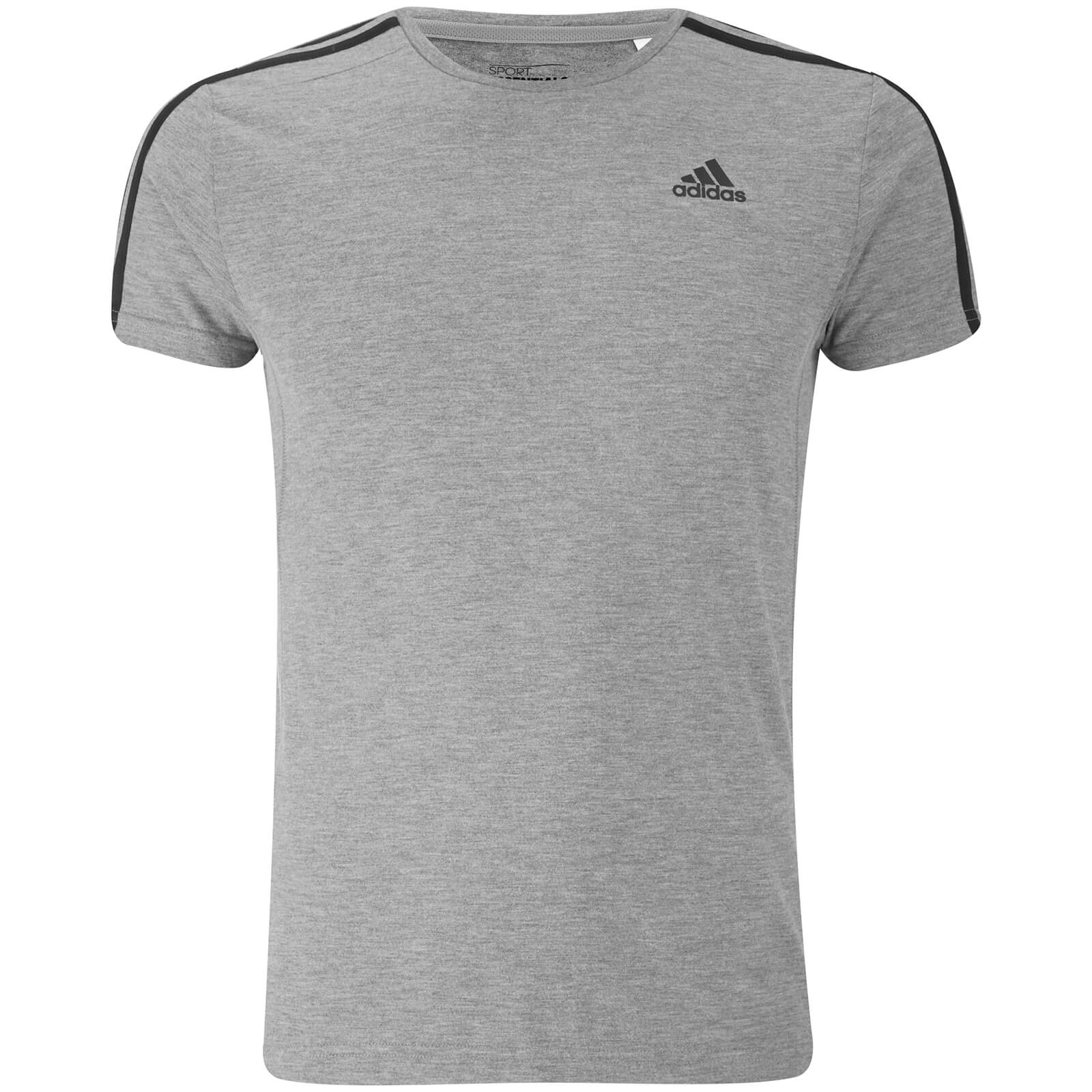 Chiné Adidas Trois Shirt Sports Gris amp; T Fr Bandes Homme Leisure xwYppnP