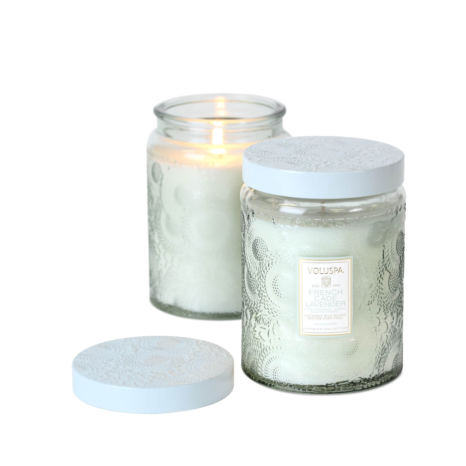 Voluspa Japonica Large Embossed Glass Jar Candle French Cade