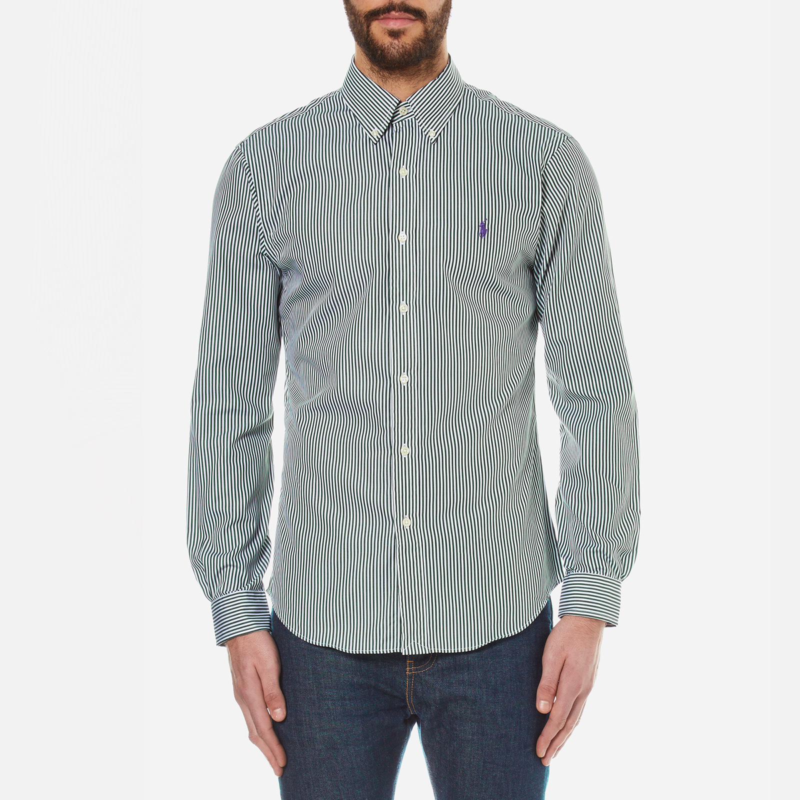 4e3abdc4f2 Polo Ralph Lauren Men's Long Sleeved Striped Shirt - Pine Green - Free UK  Delivery over £50