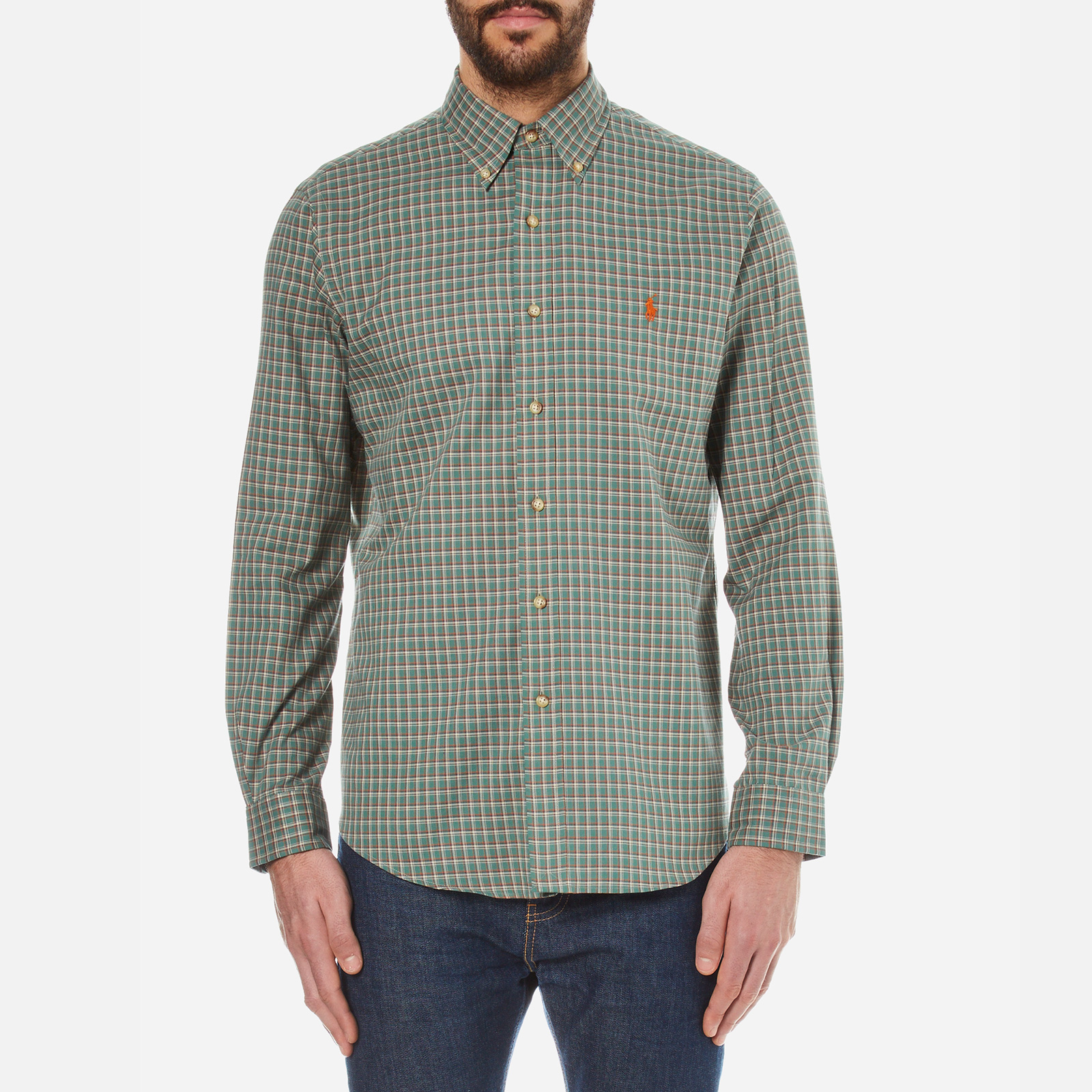e29a26e10b311 Polo Ralph Lauren Men s Long Sleeved Checked Shirt - Myrtle Green - Free UK  Delivery over £50