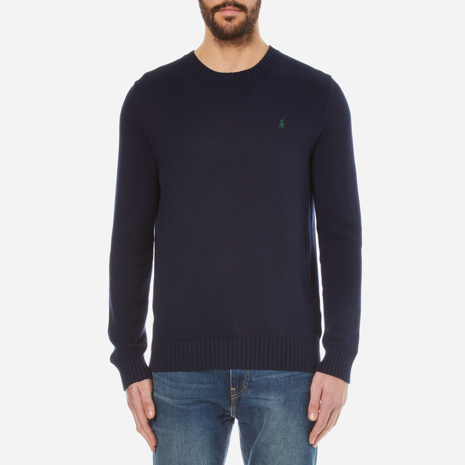 097dcfd08 Polo Ralph Lauren Men s Crew Neck Cotton Knitted Jumper - Hunter Navy -  Free UK Delivery over £50