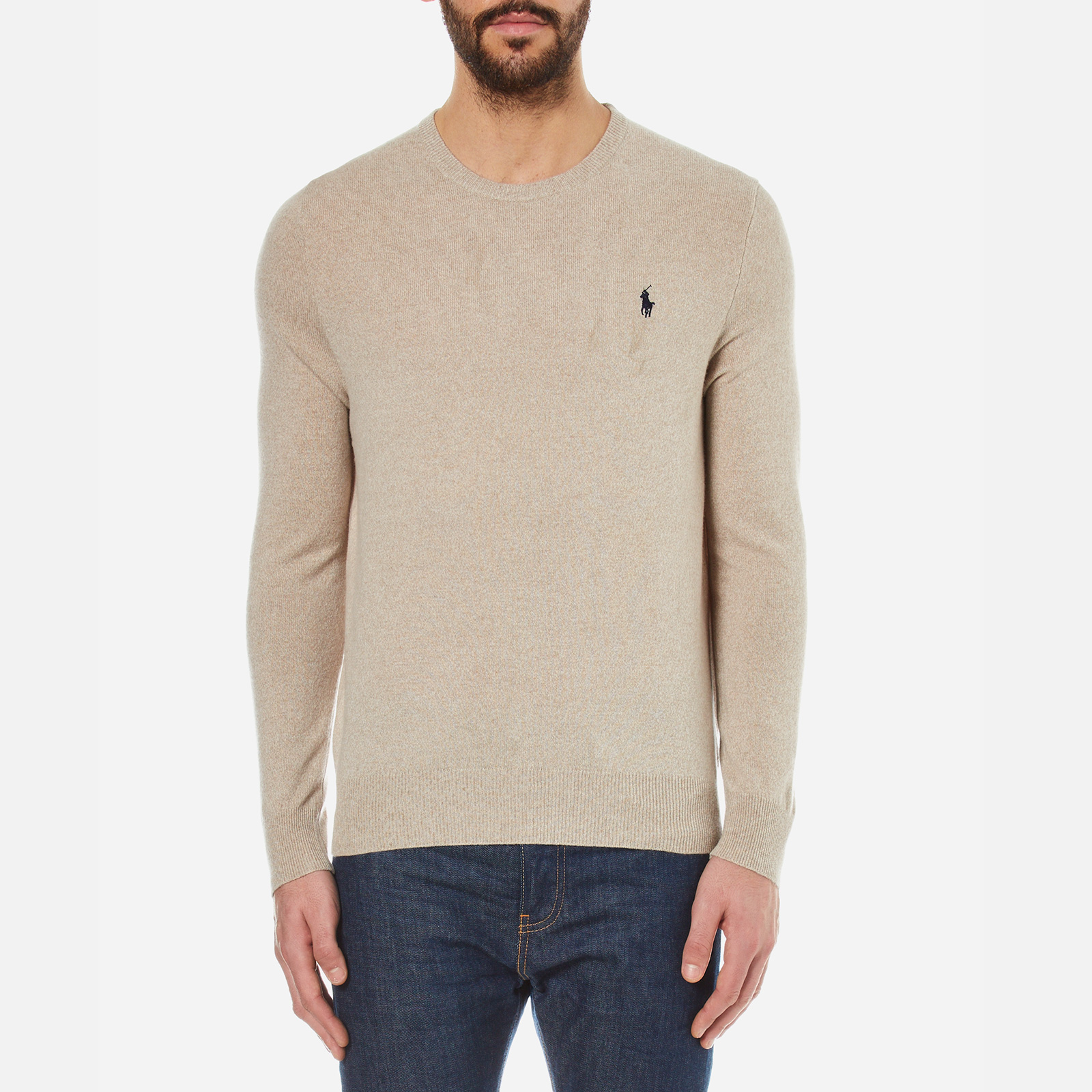 2e733897 Polo Ralph Lauren Men's Crew Neck Merino Wool Knitted Jumper - Oatmeal -  Free UK Delivery over £50