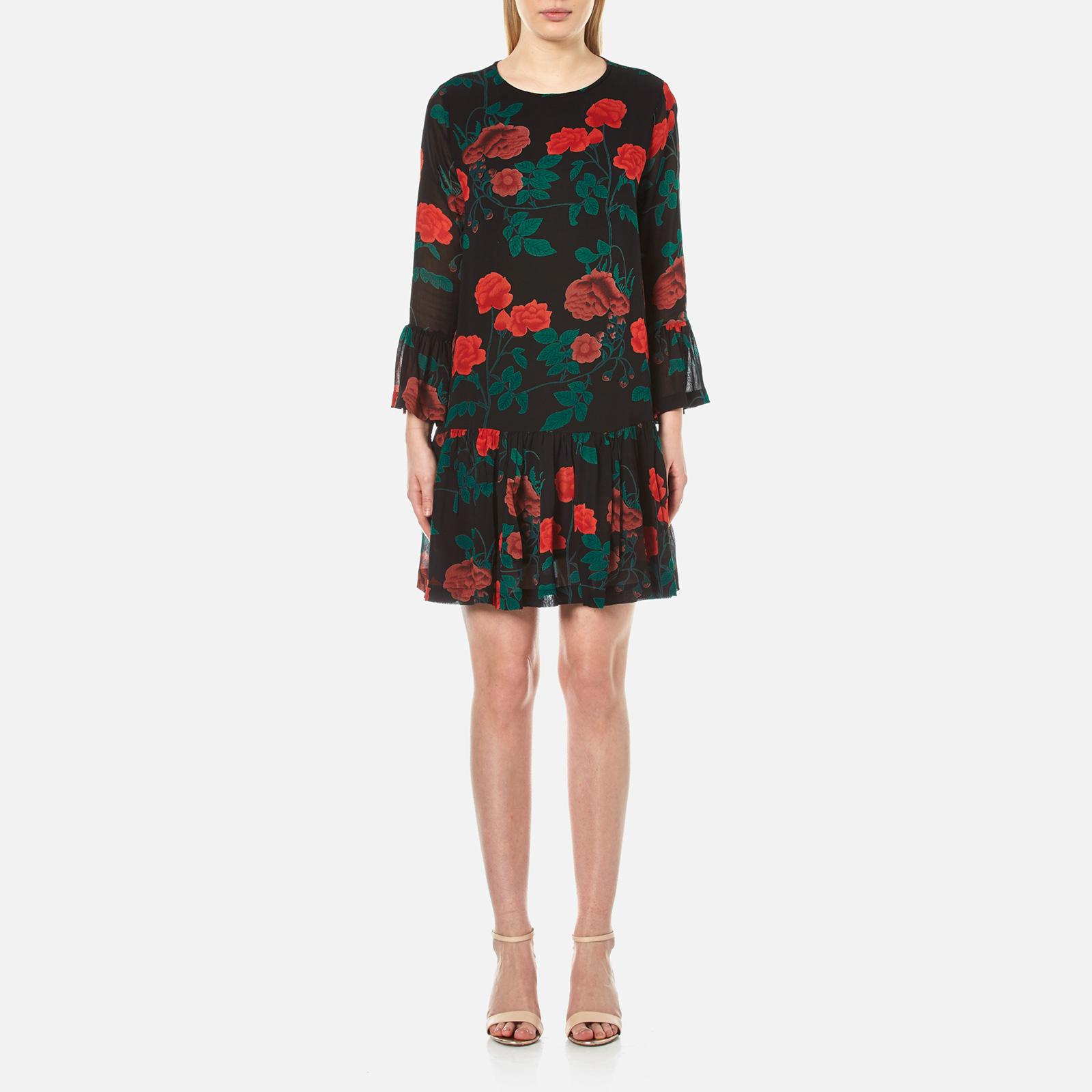 b2c83648 Ganni Women's Newman Georgette Short Dress - Black - Free UK Delivery over  £50