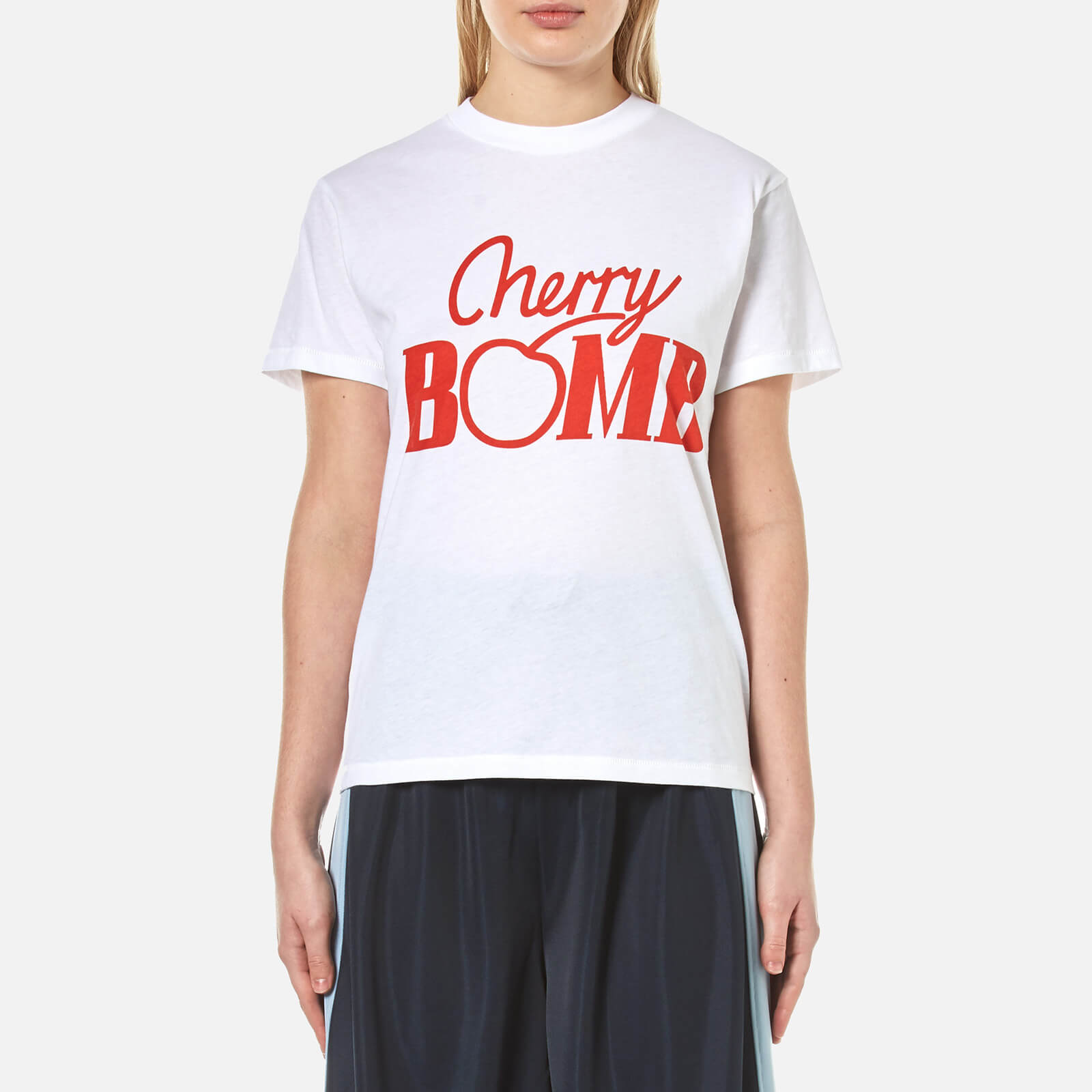 d58c9dbf2bb3d9 Ganni Women s Harvard Cherry Bomb T-Shirt - Bright White - Free UK Delivery  over £50