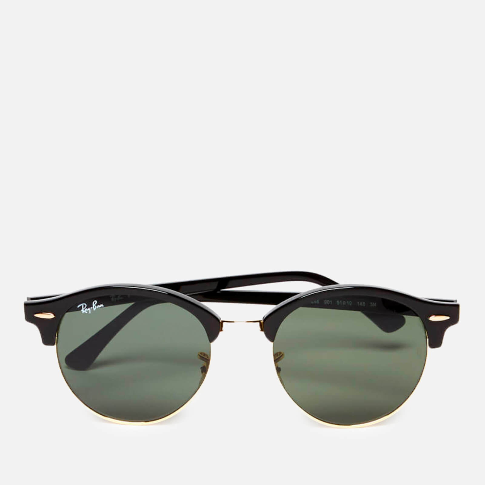 3ab0071035 Ray-Ban Clubround Flat Lenses Half Metal Frame Sunglasses - Black - Free UK  Delivery over £50