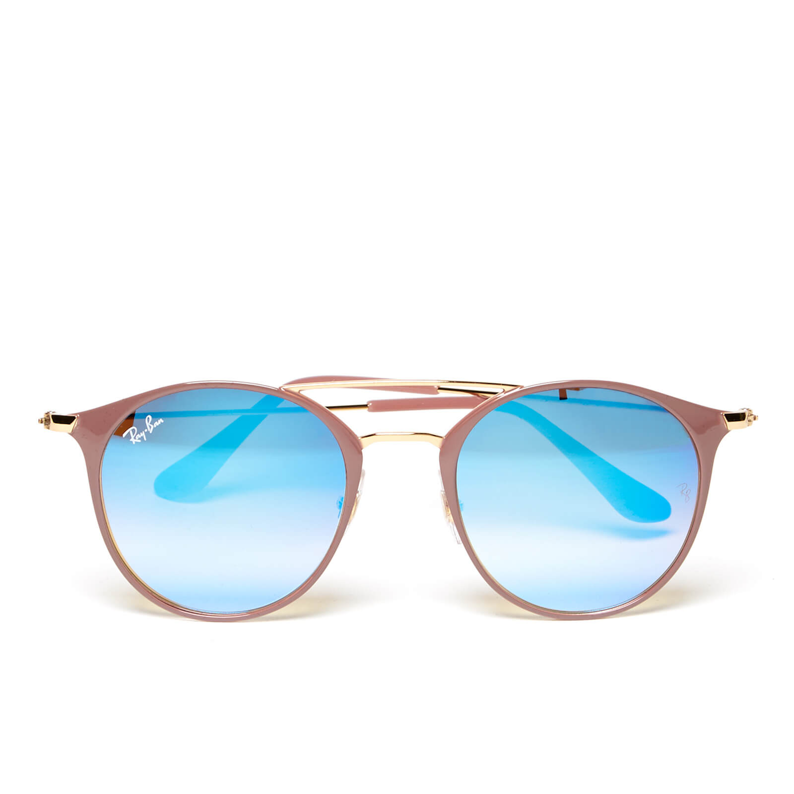 43c3dafee30c Ray-Ban Round Metal Rose Frame Sunglasses - Gold Top Beige Blue Flash -  Free UK Delivery over £50