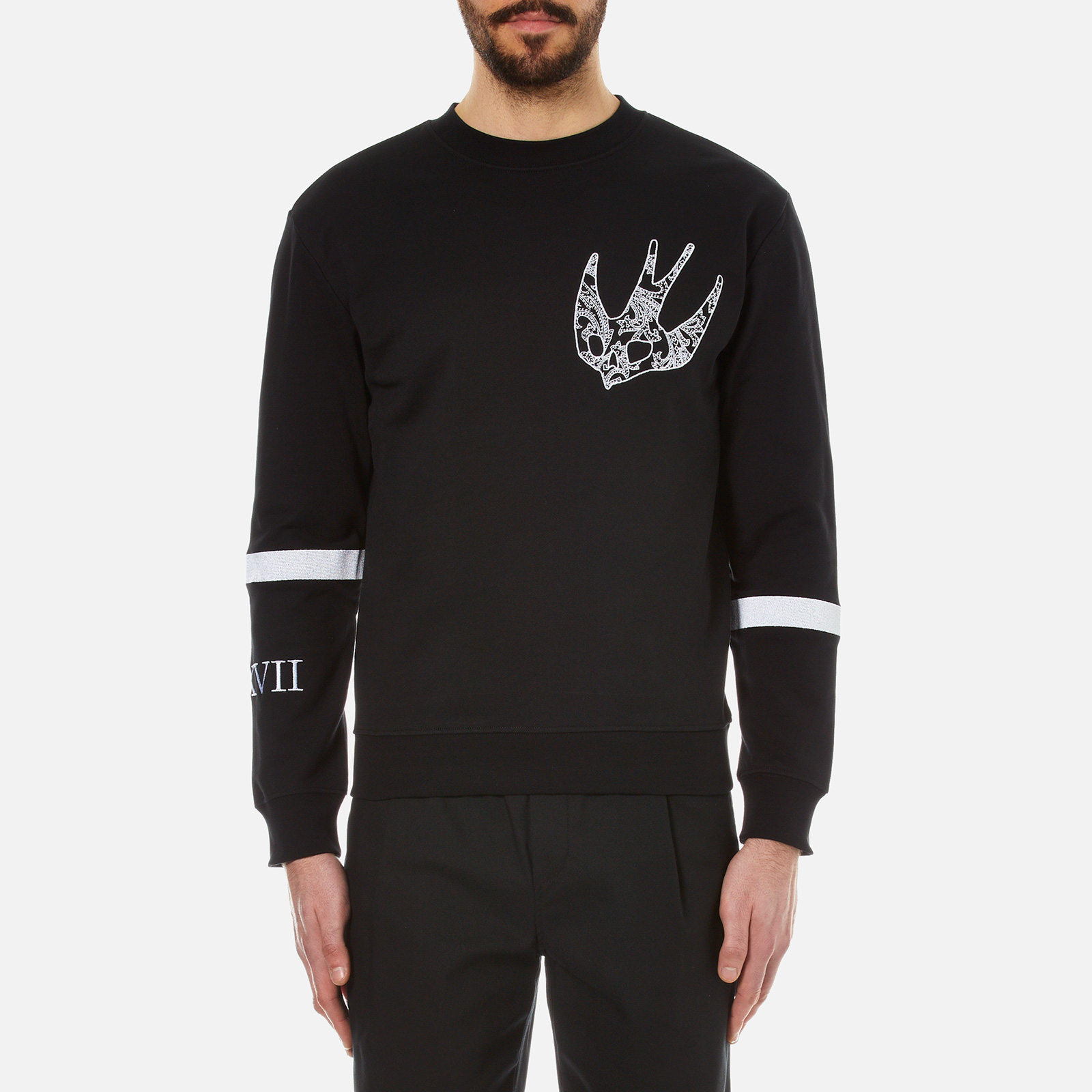 44c36906d33 ... McQ Alexander McQueen Men s Clean Crew Neck Swallow Sweatshirt - Darkest  Black