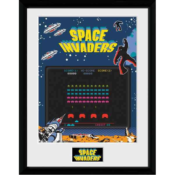 "Space Invaders Screen Framed Photographic - 16"""" x 12"""