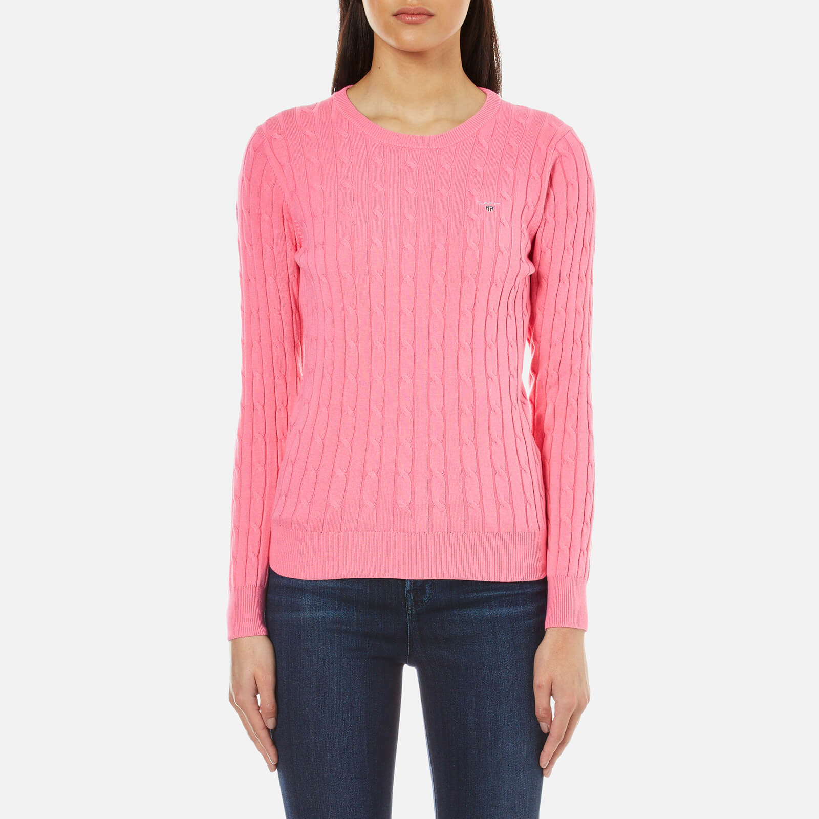 9364a645f4a9d9 GANT Women's Stretch Cotton Cable Crew Jumper - Lipstick Pink Womens  Clothing | TheHut.com