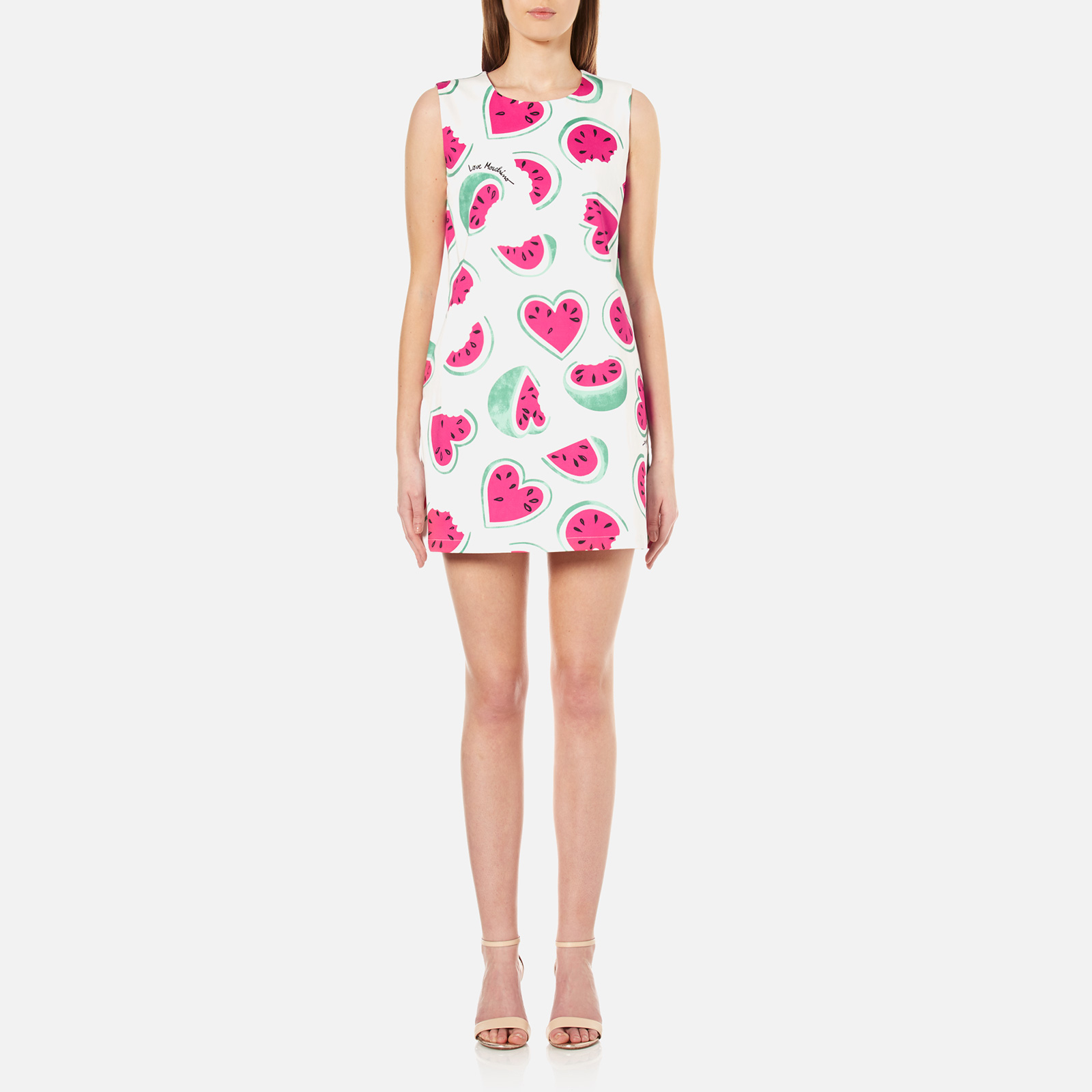4a3b18c66c781 Love Moschino Women's All Over Heart Watermelon Print Shift Dress - White/Watermelon  - Free UK Delivery over £50