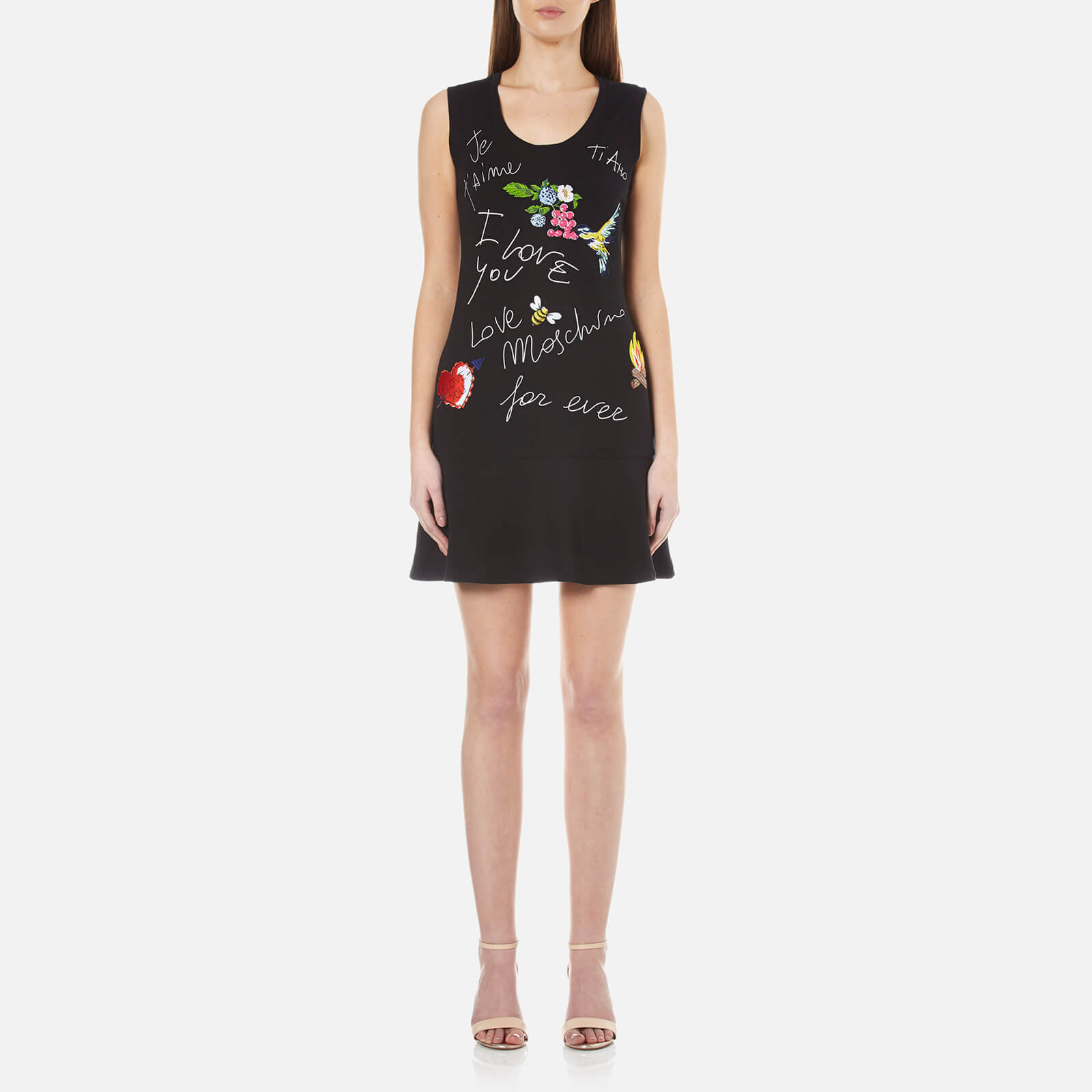 Love Moschino Women s Birds and Flowers Logo Flared Dress - Black - Free UK  Delivery over £50 b141040c7ec