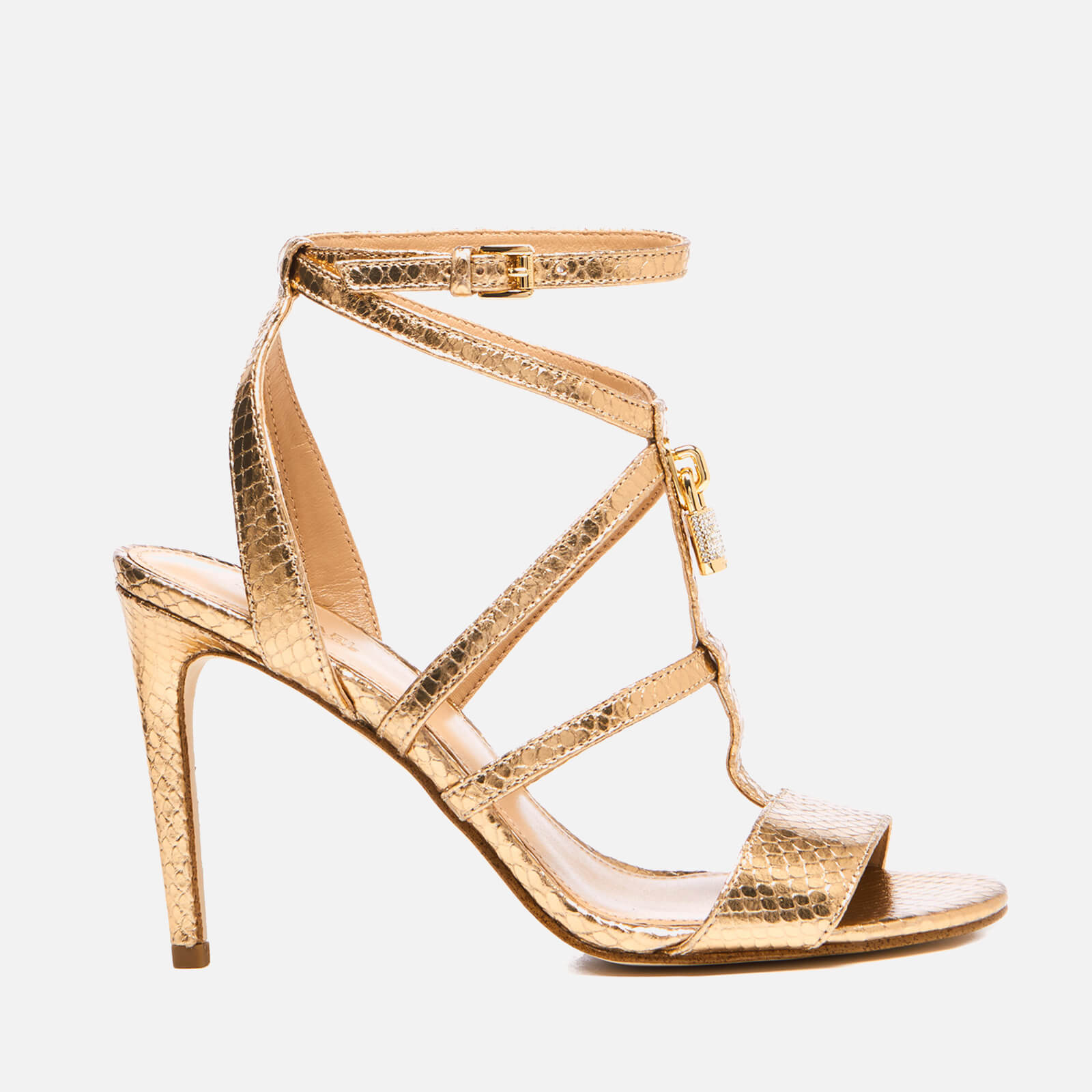 d219a84bfae2 MICHAEL MICHAEL KORS Women s Antoinette Leather Metallic Heeled Sandals - Pale  Gold - Free UK Delivery over £50