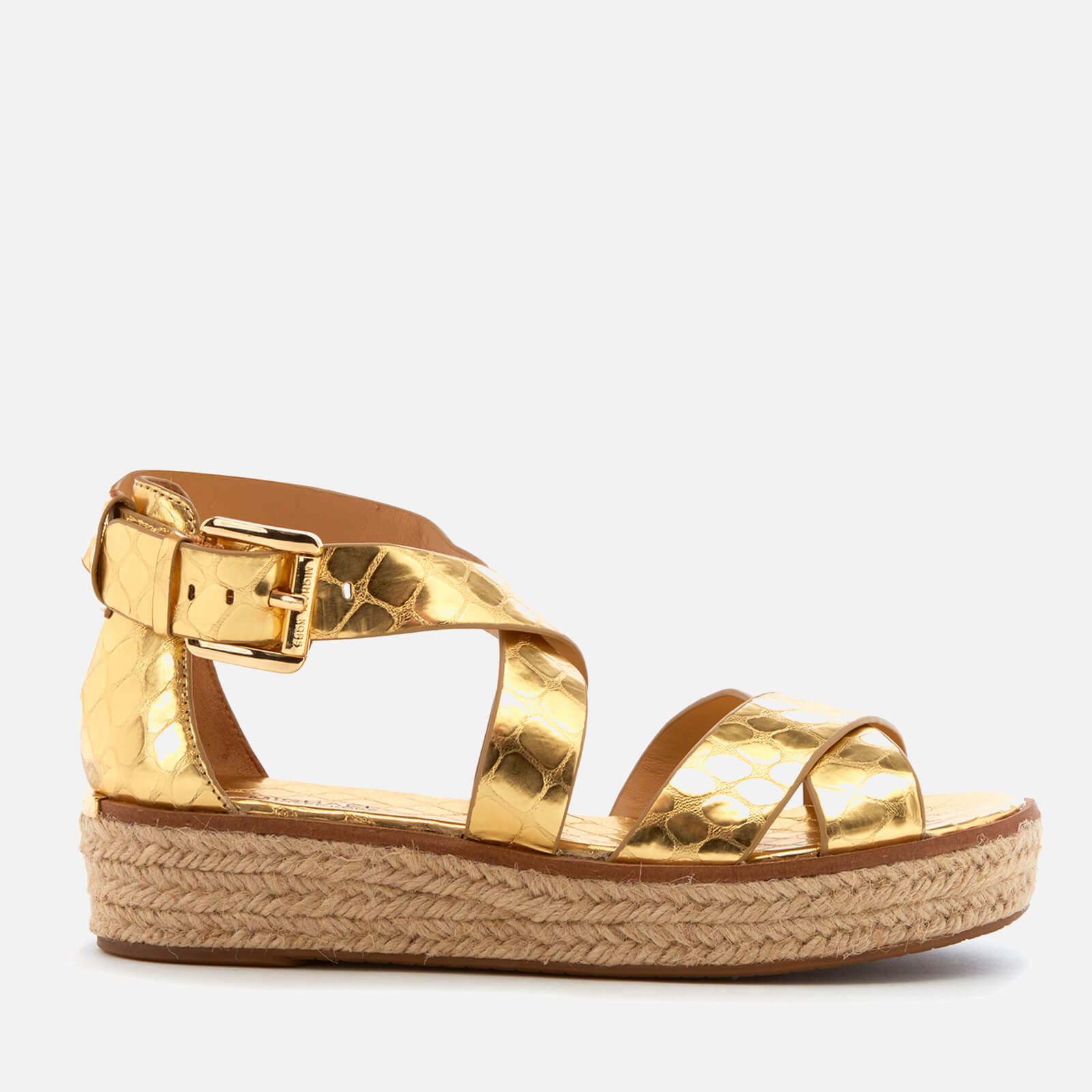 2f1209e5f7a5 MICHAEL MICHAEL KORS Women s Darby Leather Flatform Sandals - Pale Gold -  Free UK Delivery over £50