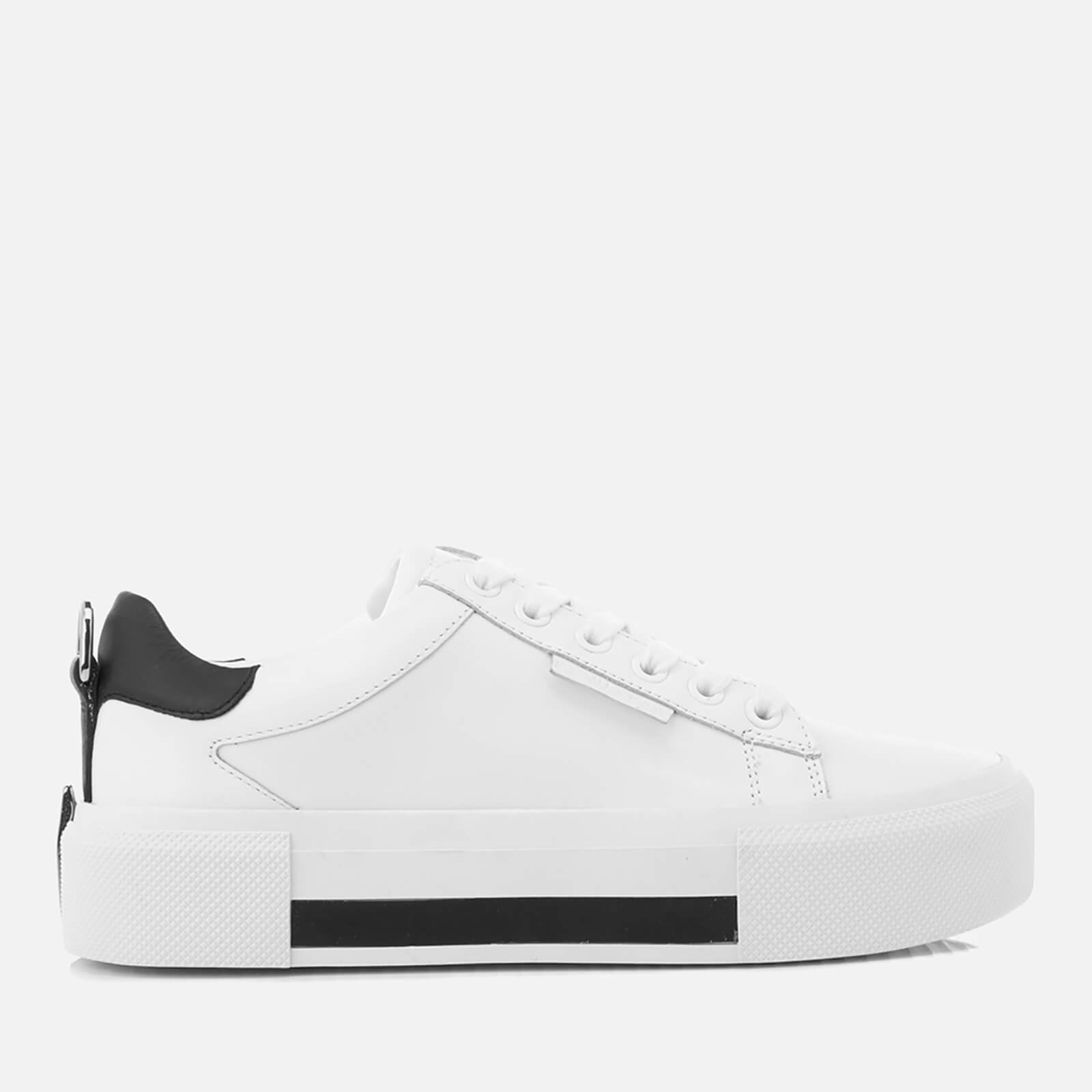 81987aefc Kendall + Kylie Women's Tyler Leather Flatform Trainers - White/Black |  FREE UK Delivery | Allsole