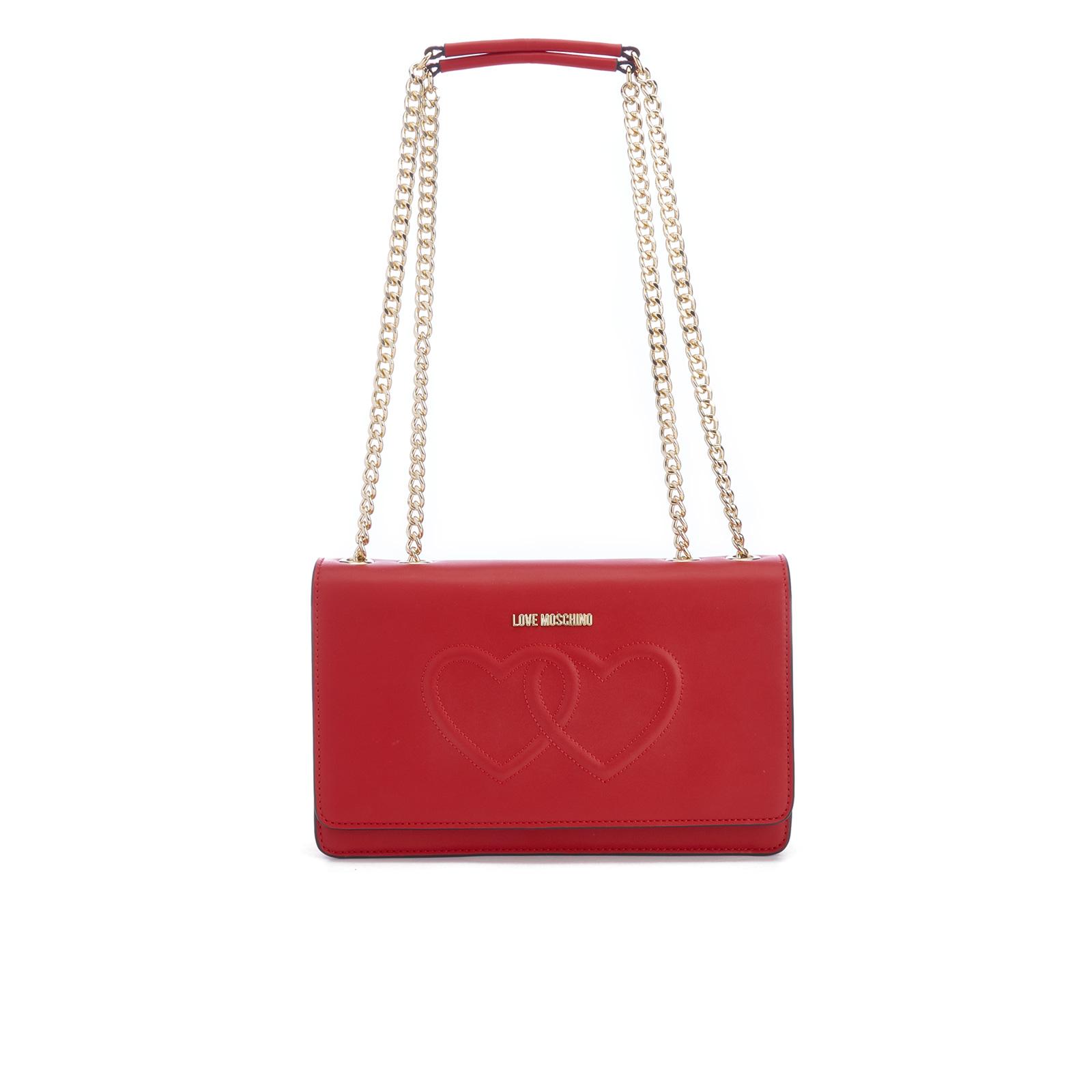 568e6fe06610 Love Moschino Women s Love Heart Embossed Cross Body Bag - Red ...