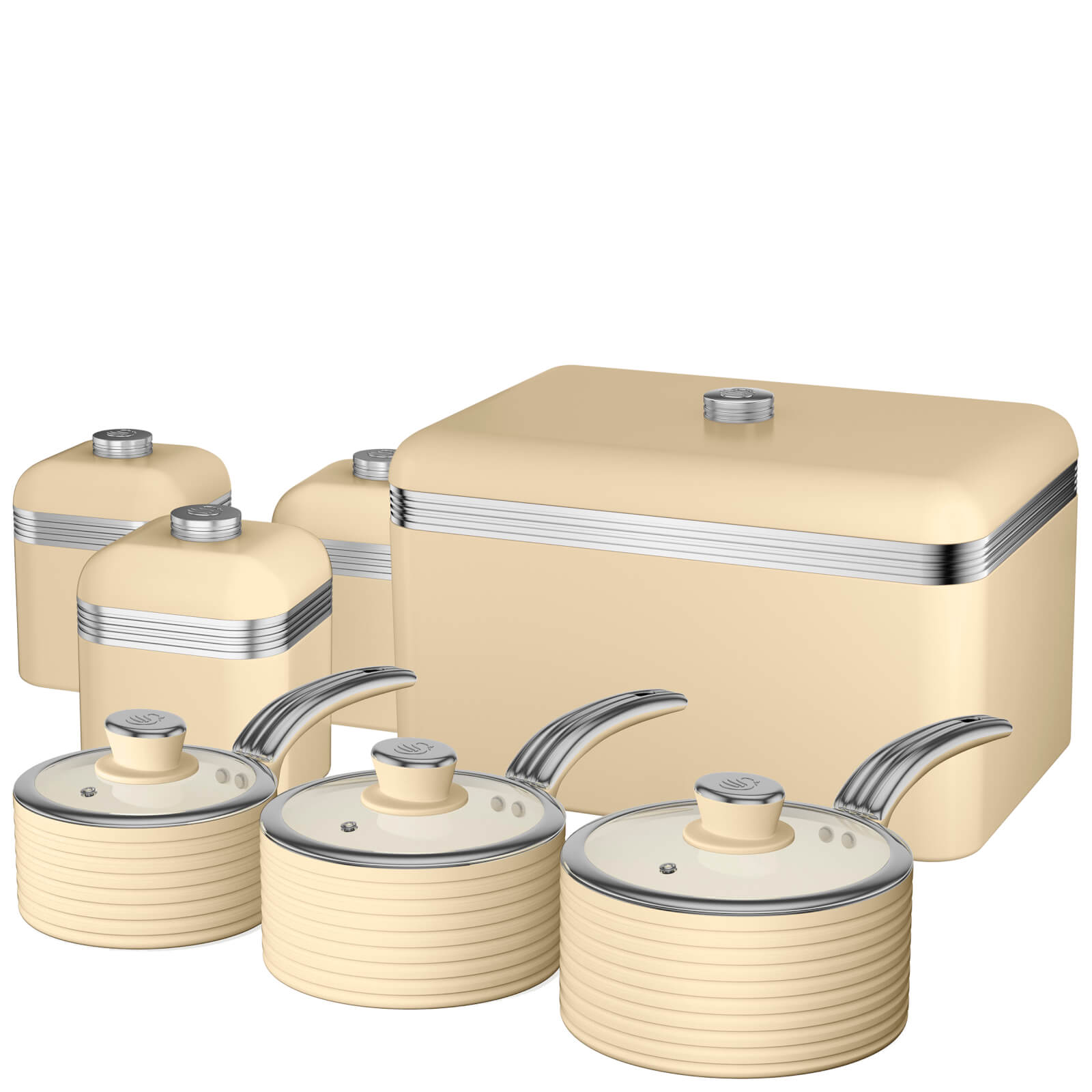 b9bd00b2c412 Swan Retro Bread Bin, Set of 3 Canisters and 3 Piece Saucepan Set - Cream |  IWOOT