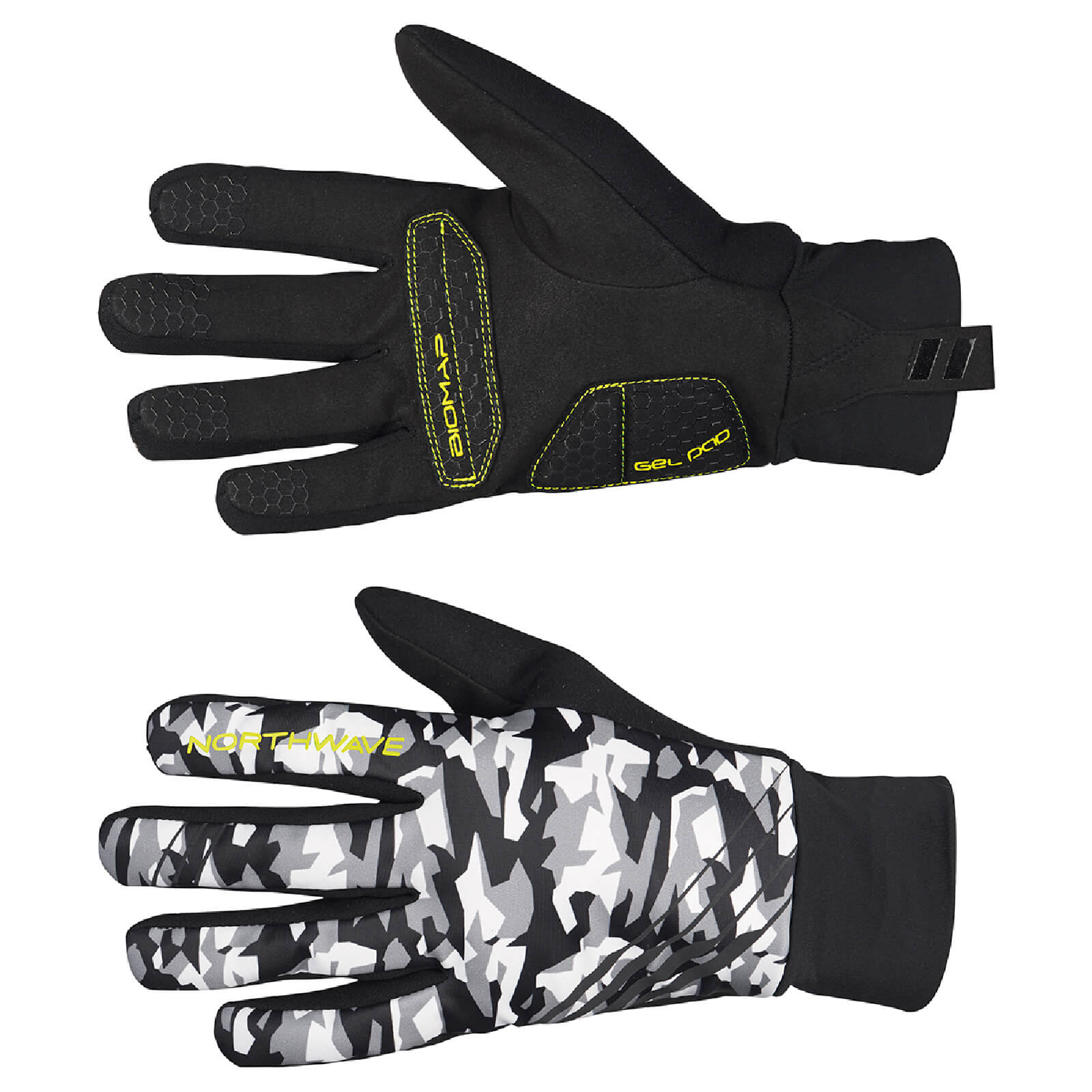 Northwave Power-2 Gel Pad Winter Gloves - Camo Yellow