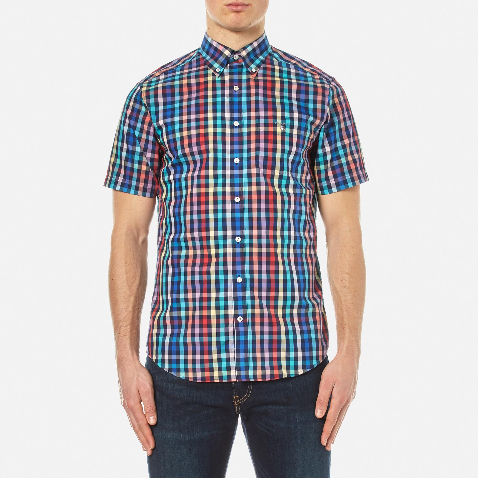 70400582c0f GANT Men's Small Check Short Sleeve Shirt - Persian Blue Mens Clothing    TheHut.com