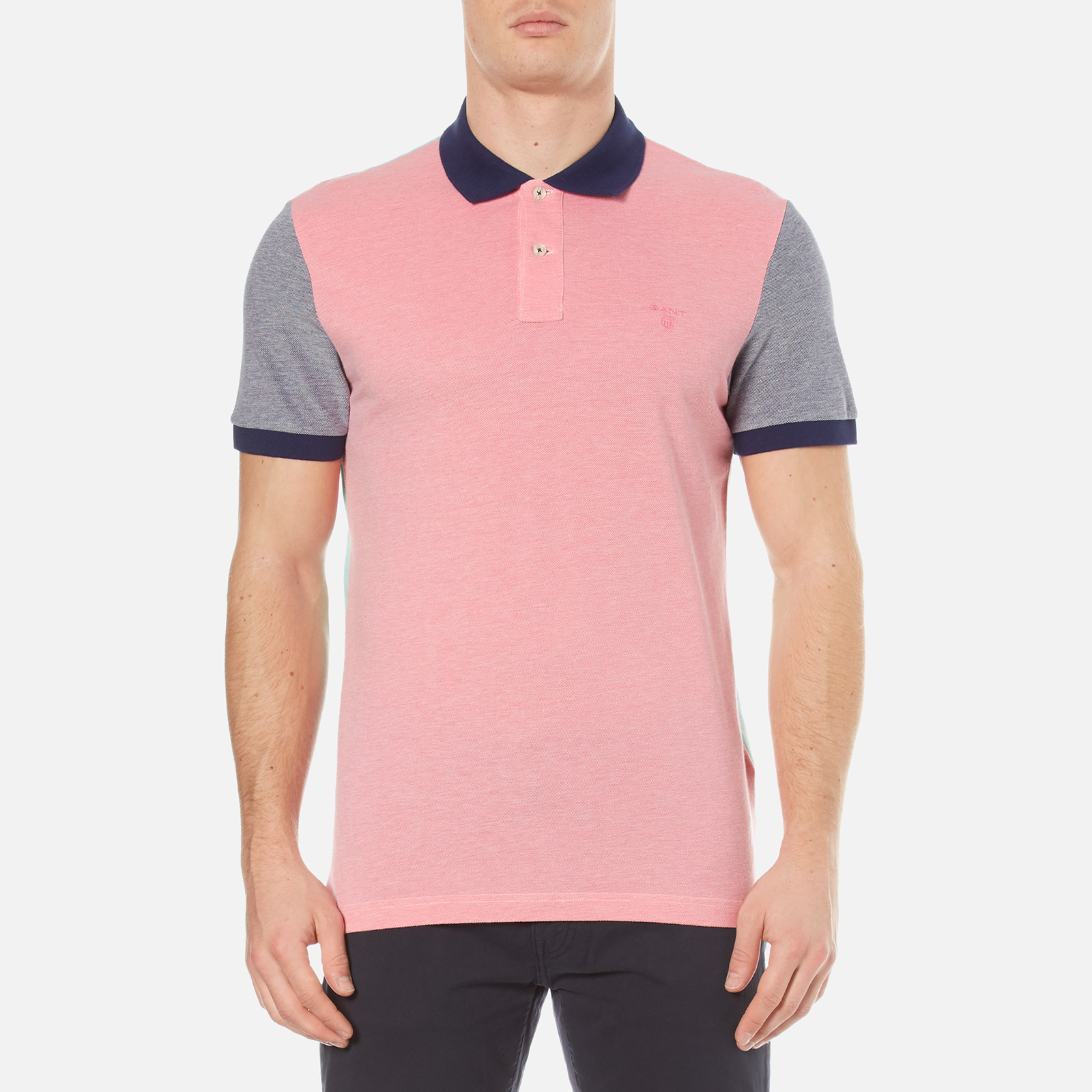 d495a084d68 GANT Men's Colour Block Oxford Rugger Polo Shirt - Bright Magenta Clothing  | TheHut.com