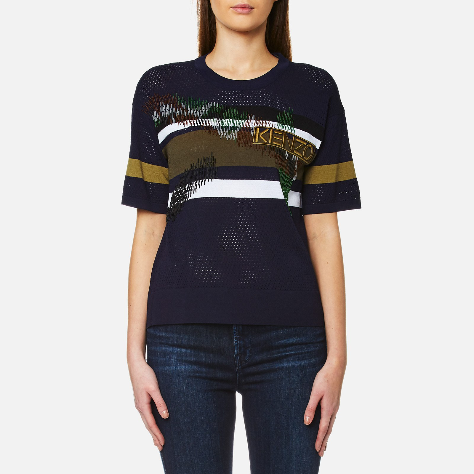 aa5917cd KENZO Women's Broken Camo Beaded Mesh Knit T-Shirt - Midnight Blue - Free  UK Delivery over £50
