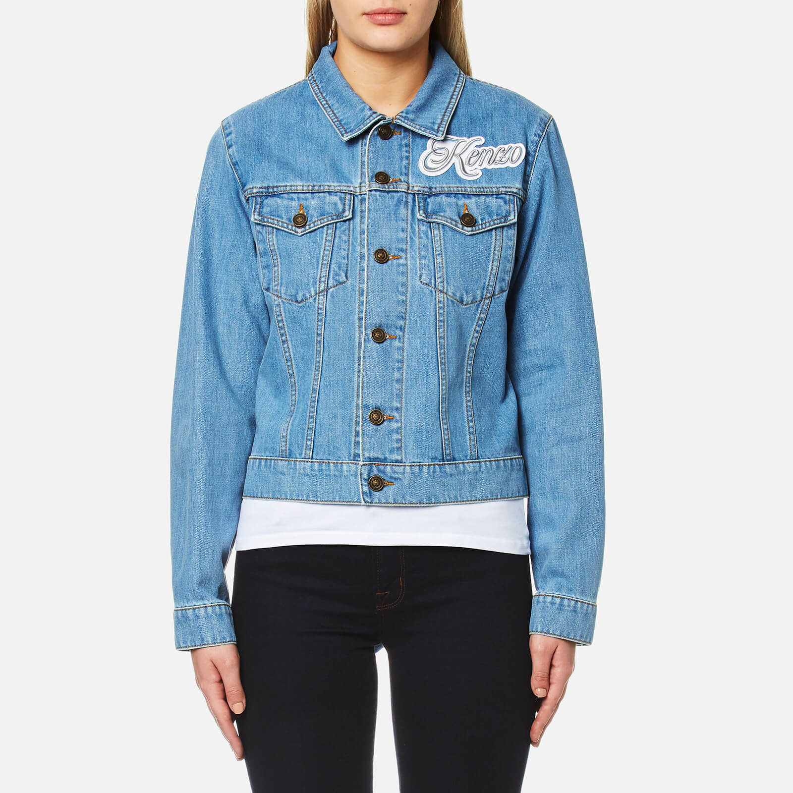 cacb80b6 KENZO Women's Bleached Denim Logo Jacket - Bleached Blue - Free UK Delivery  over £50