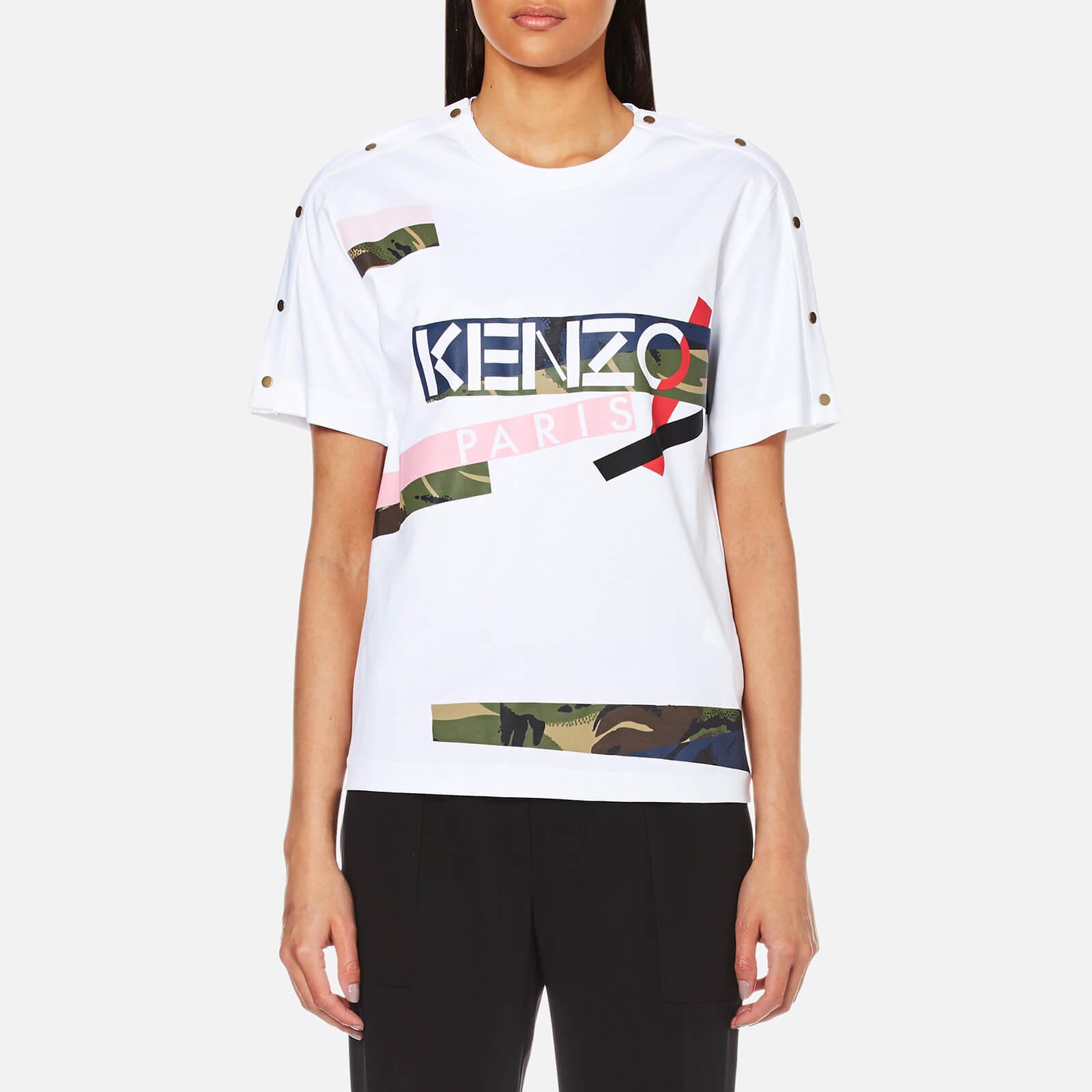 4157e0559e71b KENZO Women s Pima Cotton Jersey Logo T-Shirt - White - Free UK Delivery  over £50