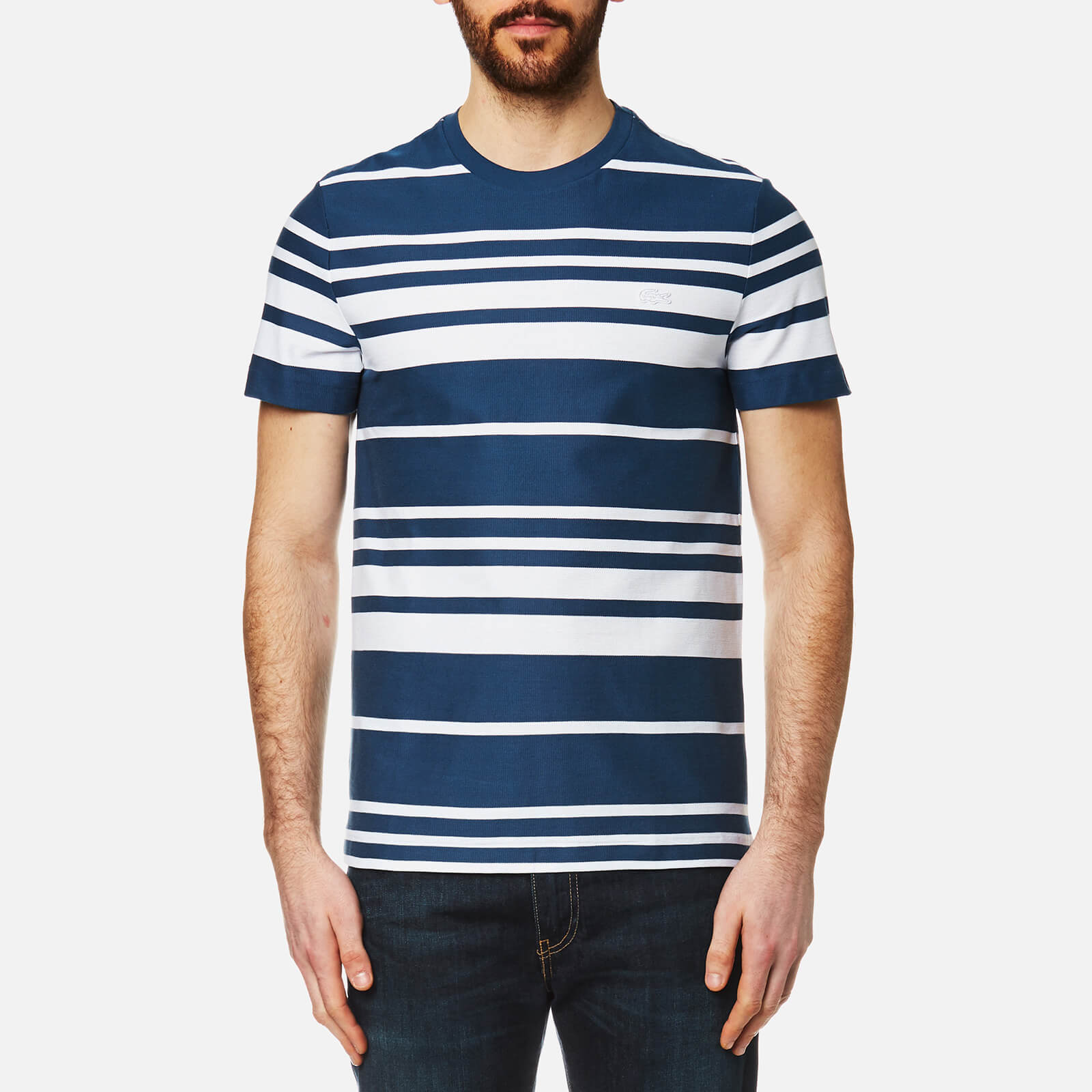 c6ade7cea1c54 Lacoste Men s Striped T-Shirt - Inkwell White - Free UK Delivery over £50