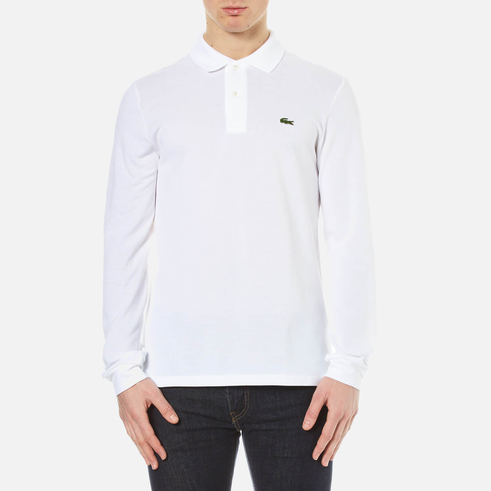 140053615 Lacoste Men s Long Sleeve Pique Polo Shirt - White - Free UK Delivery over  £50