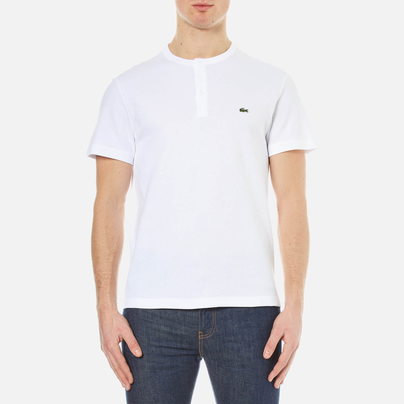 8b954859c711 Lacoste Men s Henley Collar T-Shirt - White - Free UK Delivery over £50