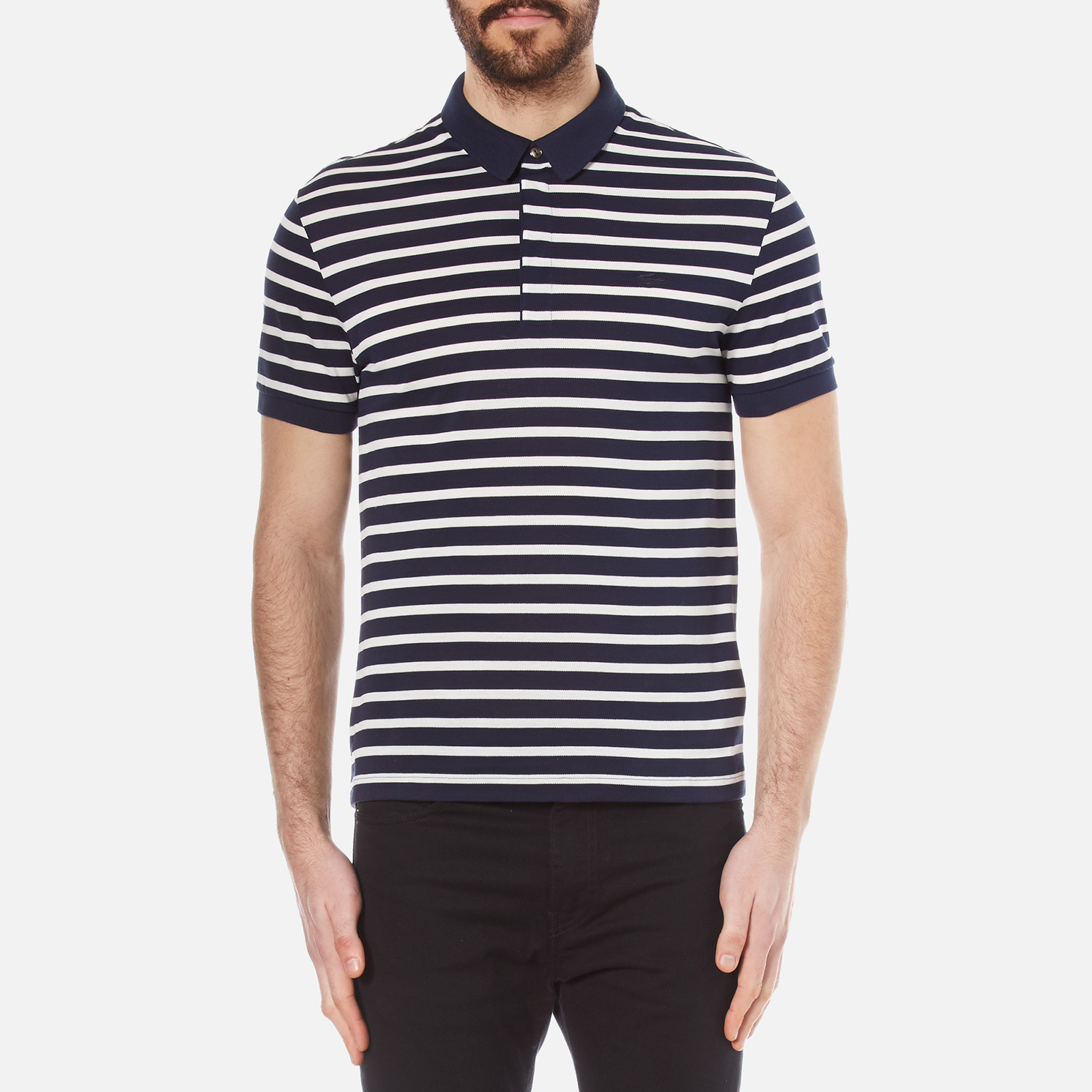 42252df76ab2 Lacoste Men s Striped Mini Pique Polo Shirt - Navy Blue Flour - Free UK  Delivery over £50