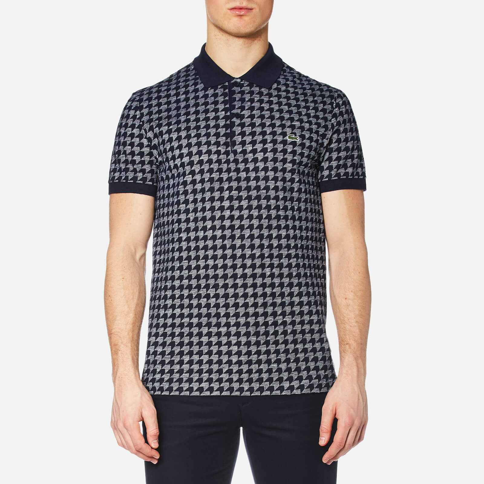a0c595a0 Lacoste Men's Oversized Houndstooth Printed Polo Shirt - Navy - Free UK  Delivery over £50