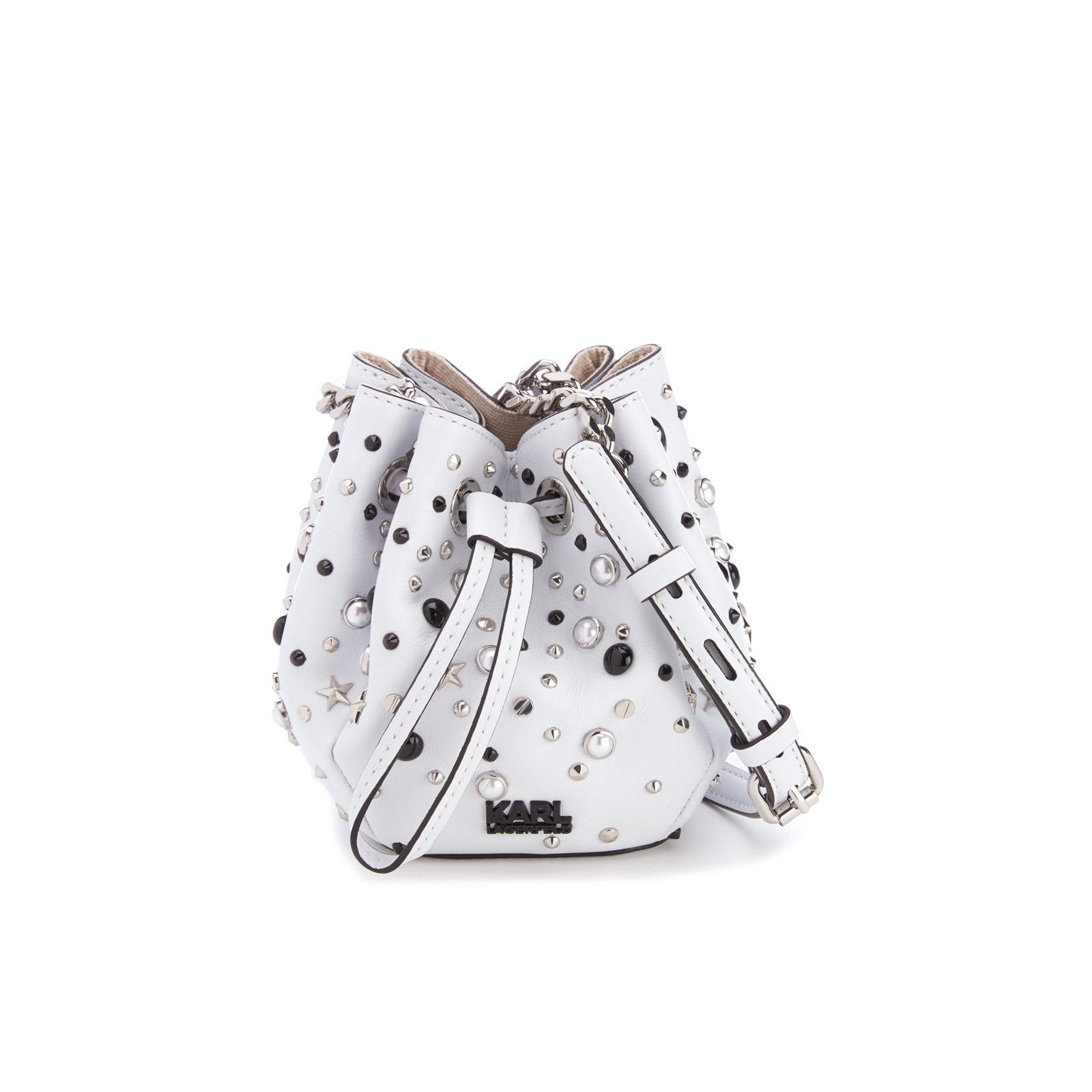 59de4a3f98d Karl Lagerfeld Women's K/Rocky Stud Drawstring Bag - White - Free UK  Delivery over £50