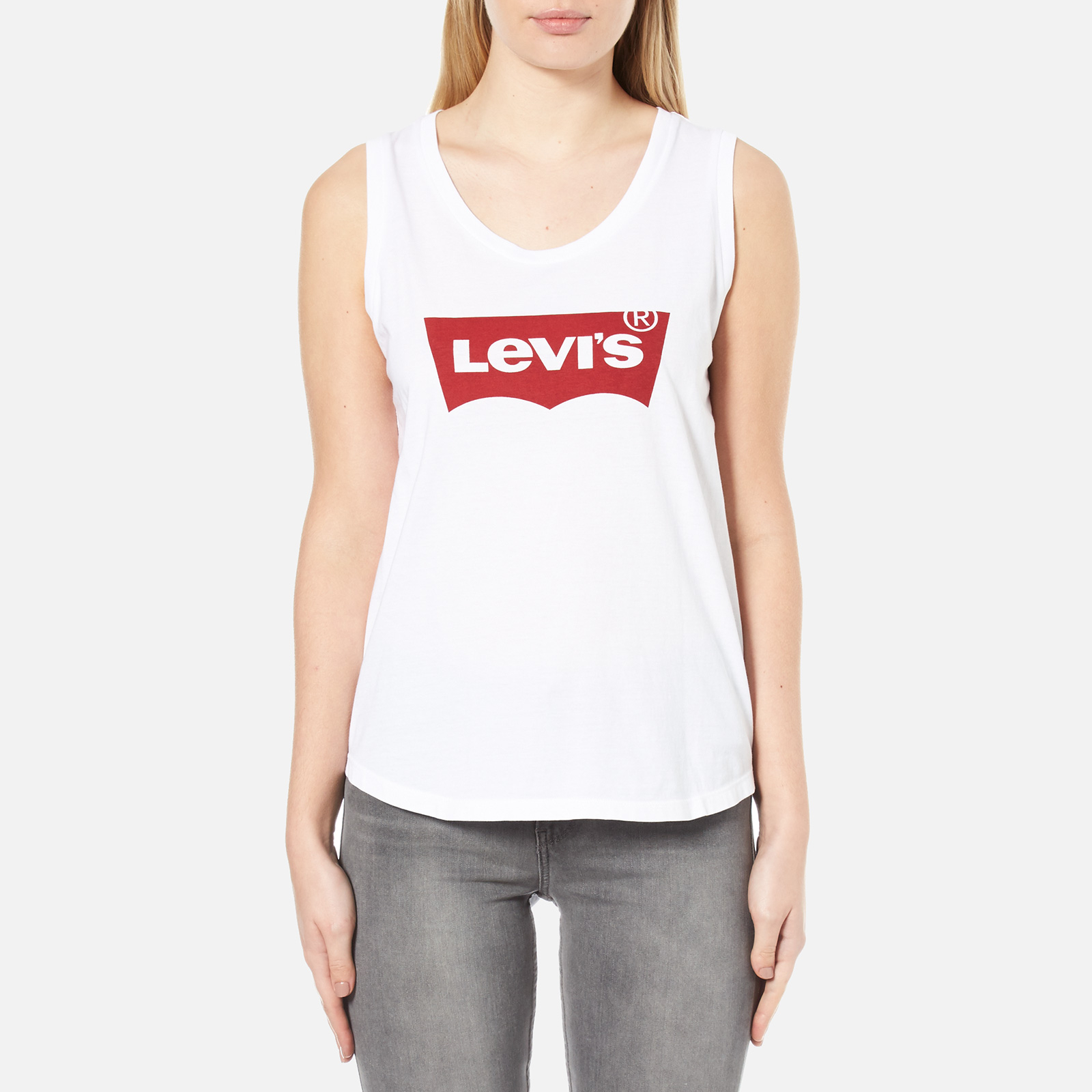 d0a5621fe02e3 Levi s Women s The Muscle Tank Top - Festival Tank Top White Womens Clothing