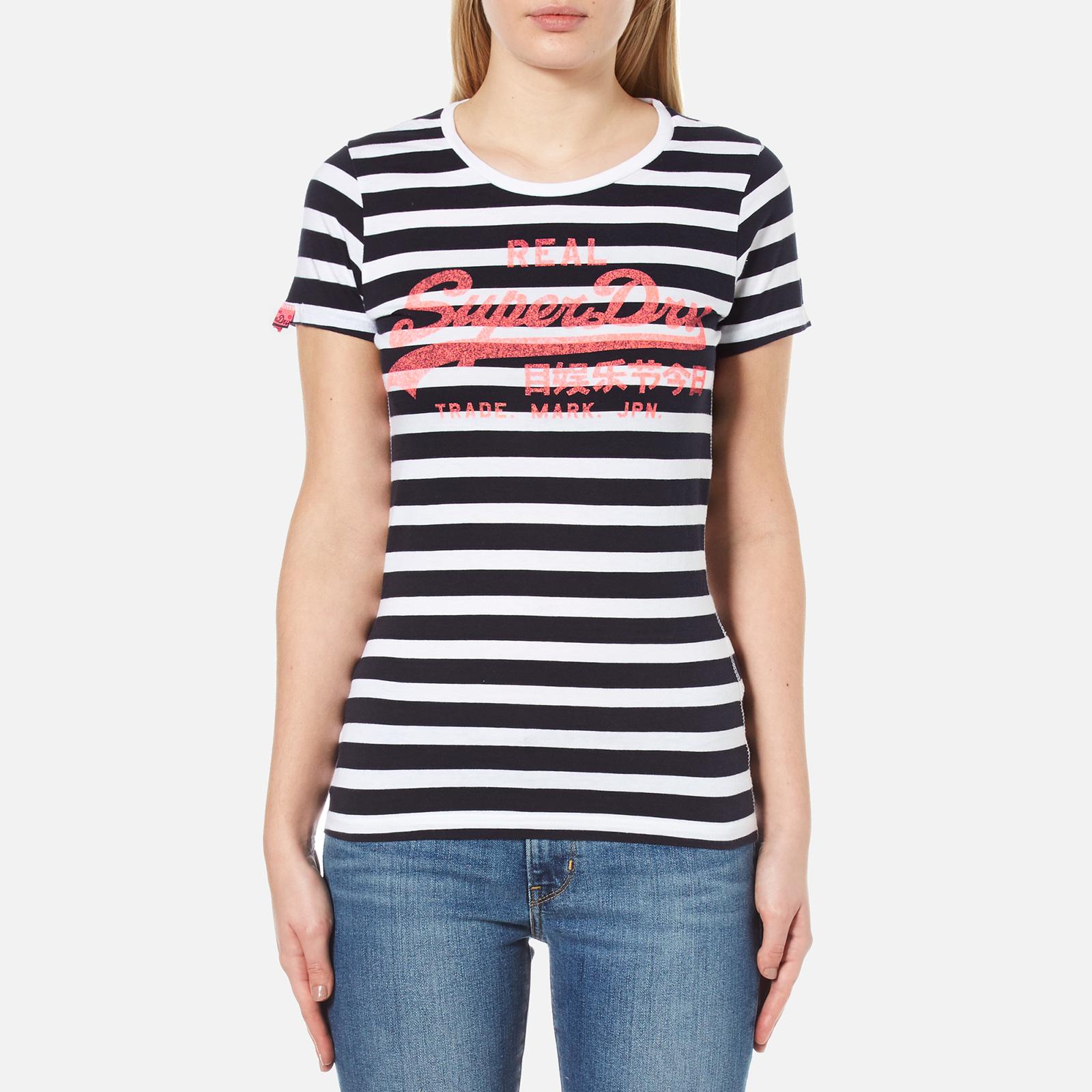 1a938975e1 Superdry Women's Vintage Logo Stripe T-Shirt - Navy Stripe Womens ...
