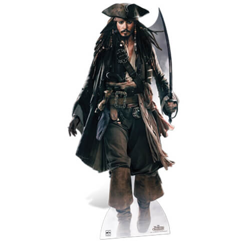 Pirates of the Caribbean Captain Jack Sparrow with Sword Life Size Cut Out