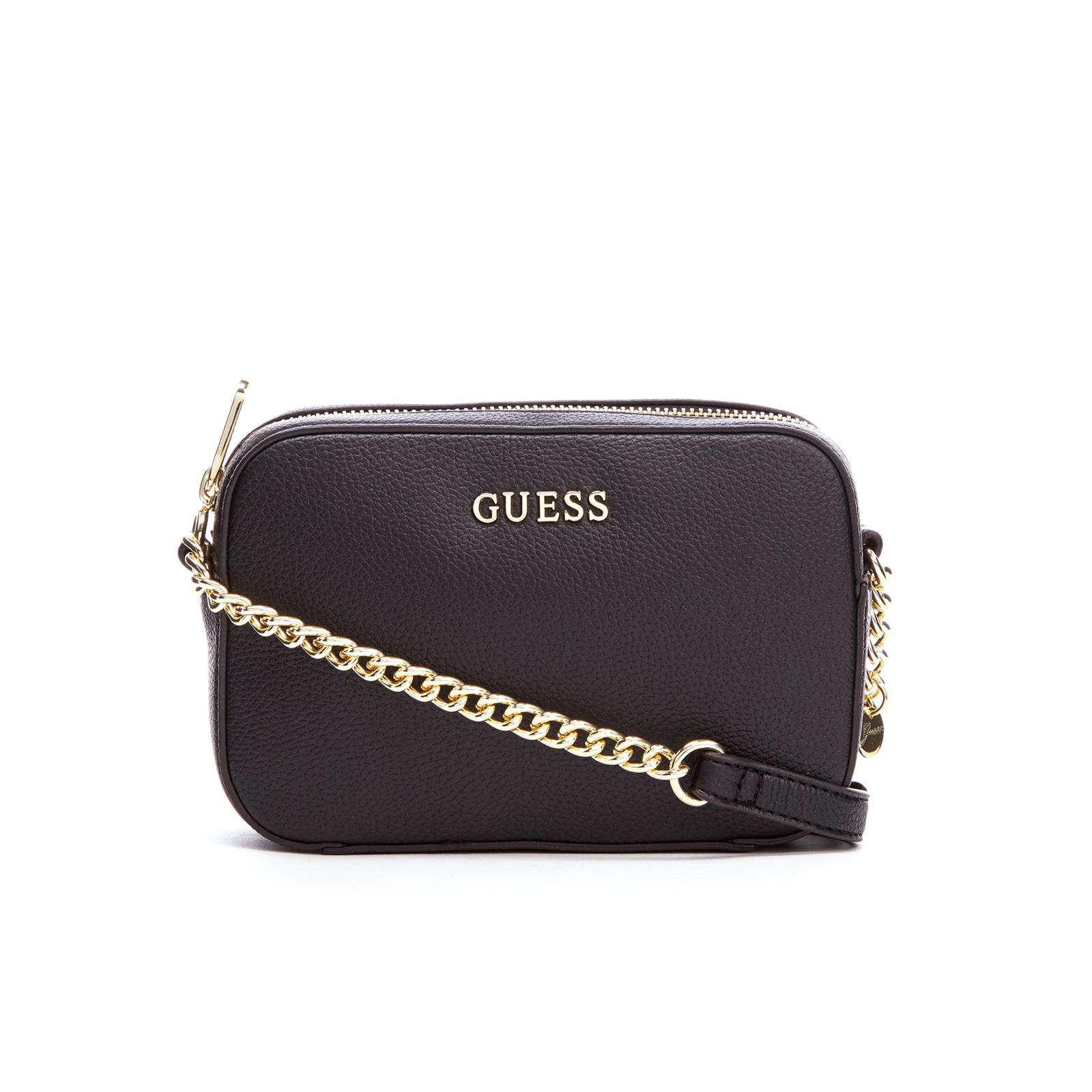 c5f910ac435be2 Guess Women S Isabeau Mini Cross Body Top Zip Bag Black Clothing