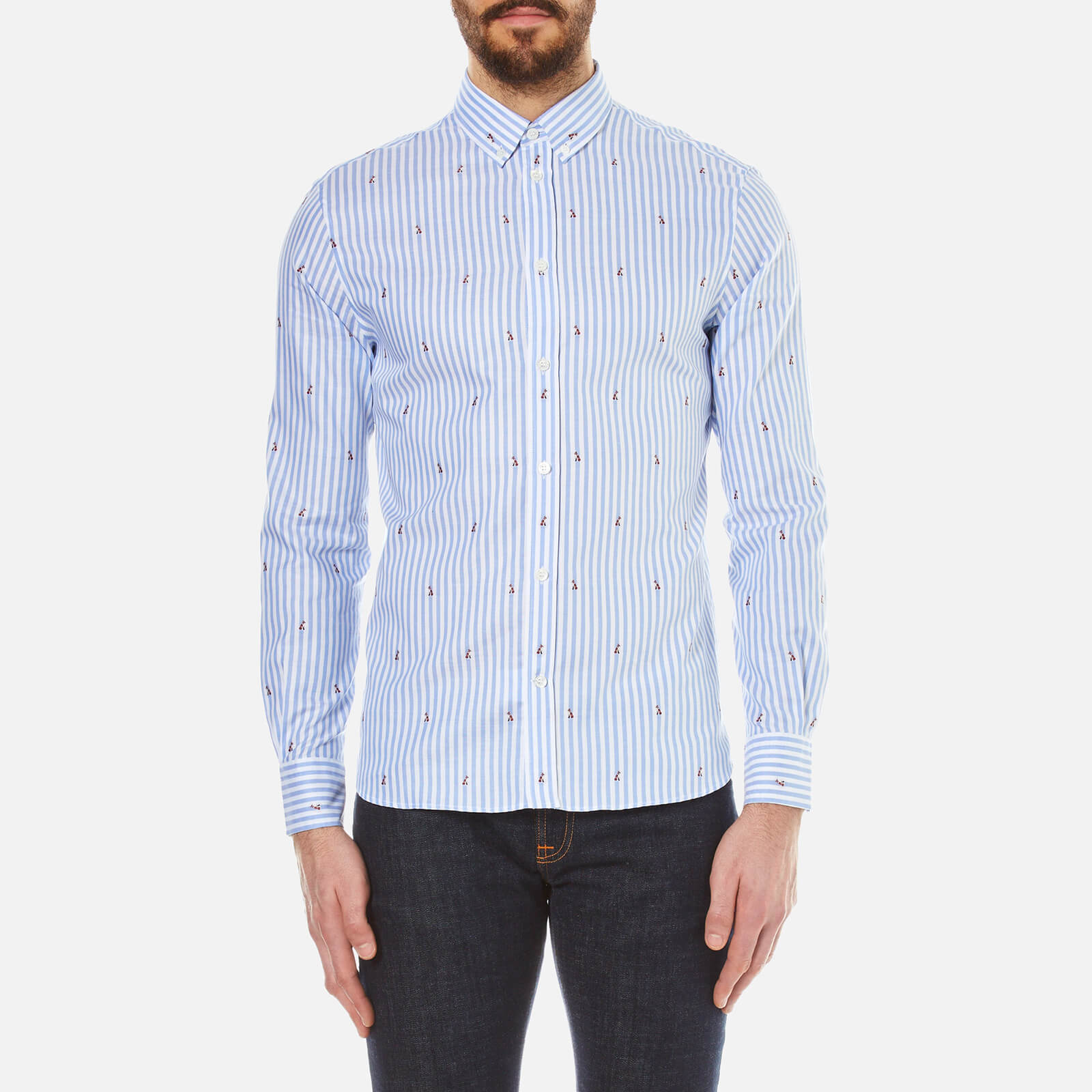 e7a29c7578 Maison Kitsuné Men's Classic Jacquard Fox Long Sleeve Shirt - Light Blue  Stripe - Free UK Delivery over £50