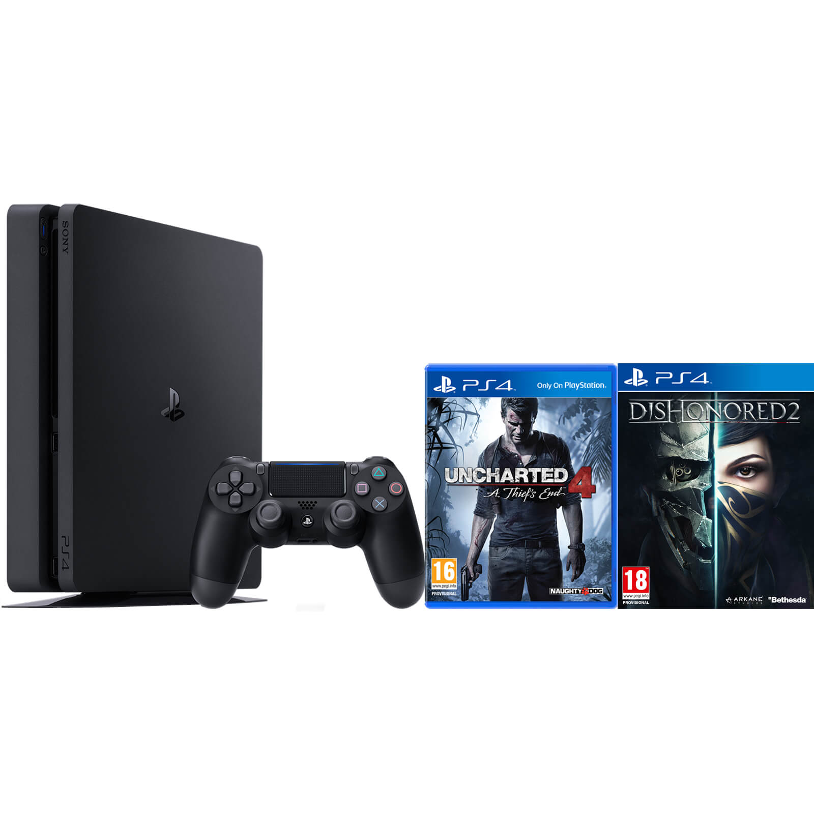 PlayStation 4 Slim 500GB with Uncharted 4 and Dishonored 2